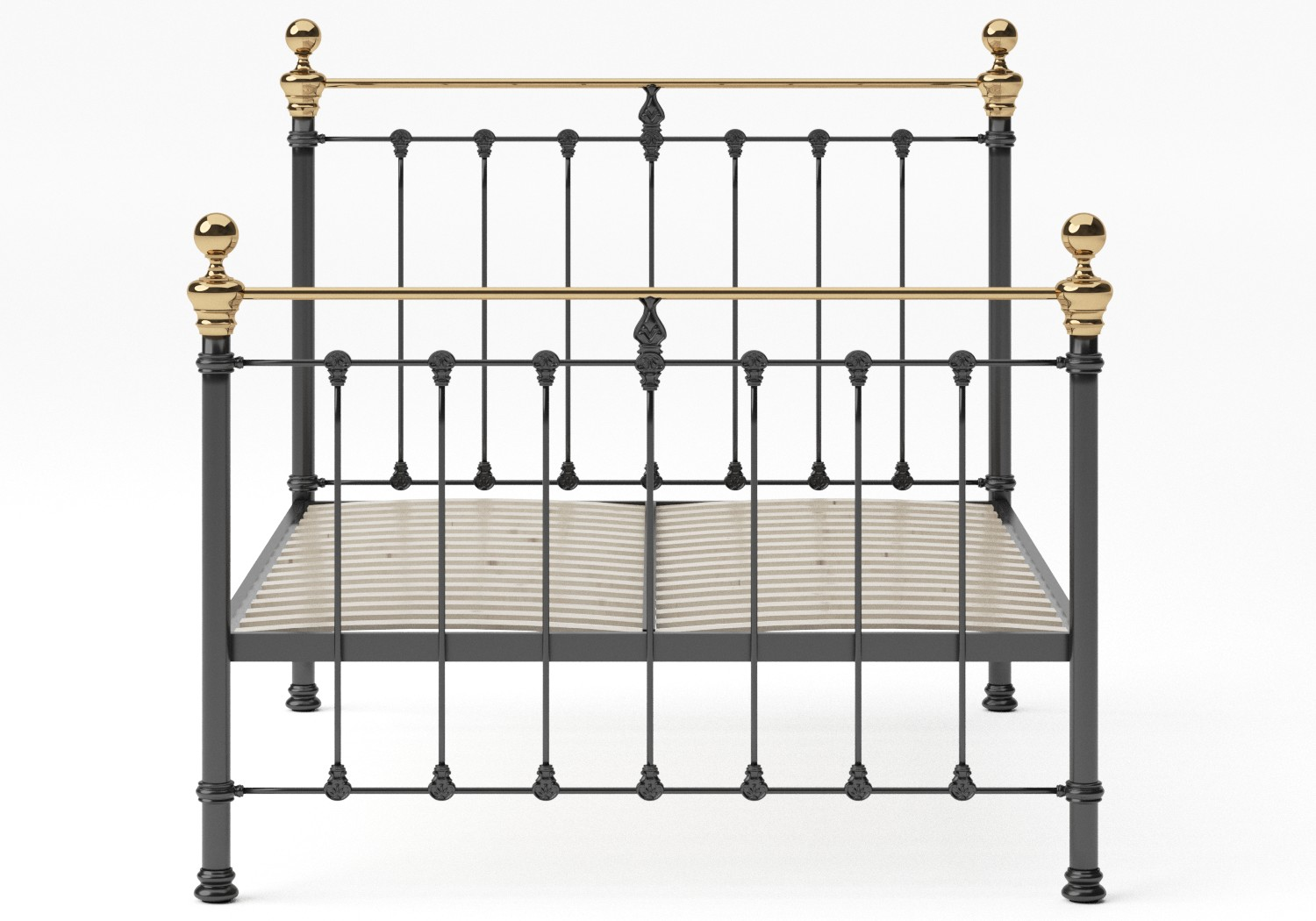 Hamilton Iron/Metal Bed in Satin Black with Brass details shown with slatted frame