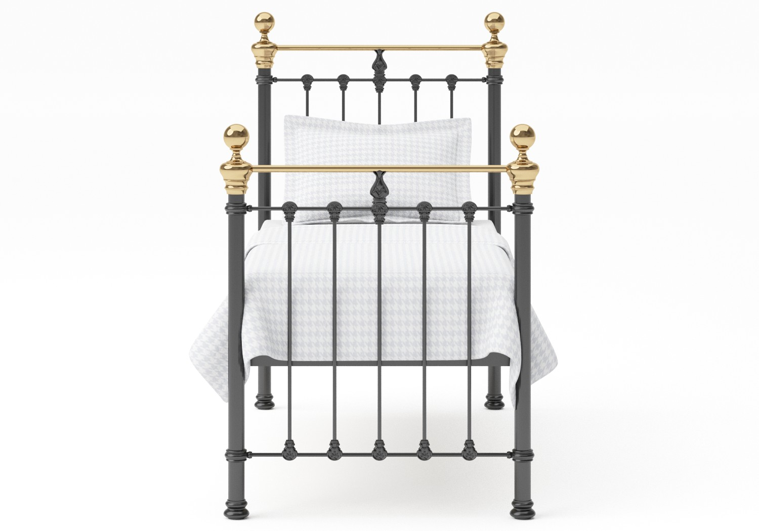 Hamilton Single Iron/Metal Bed in Satin Black with Brass details