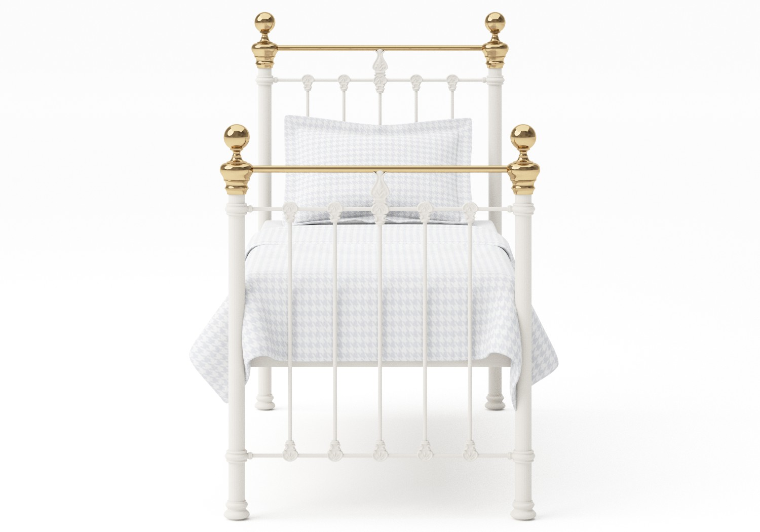 Hamilton Single Iron/Metal Bed in Glossy Ivory with Brass details