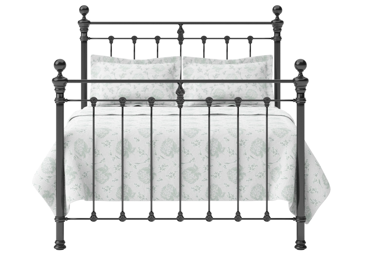 Hamilton Iron/Metal Bed in Satin Black with Black painted details