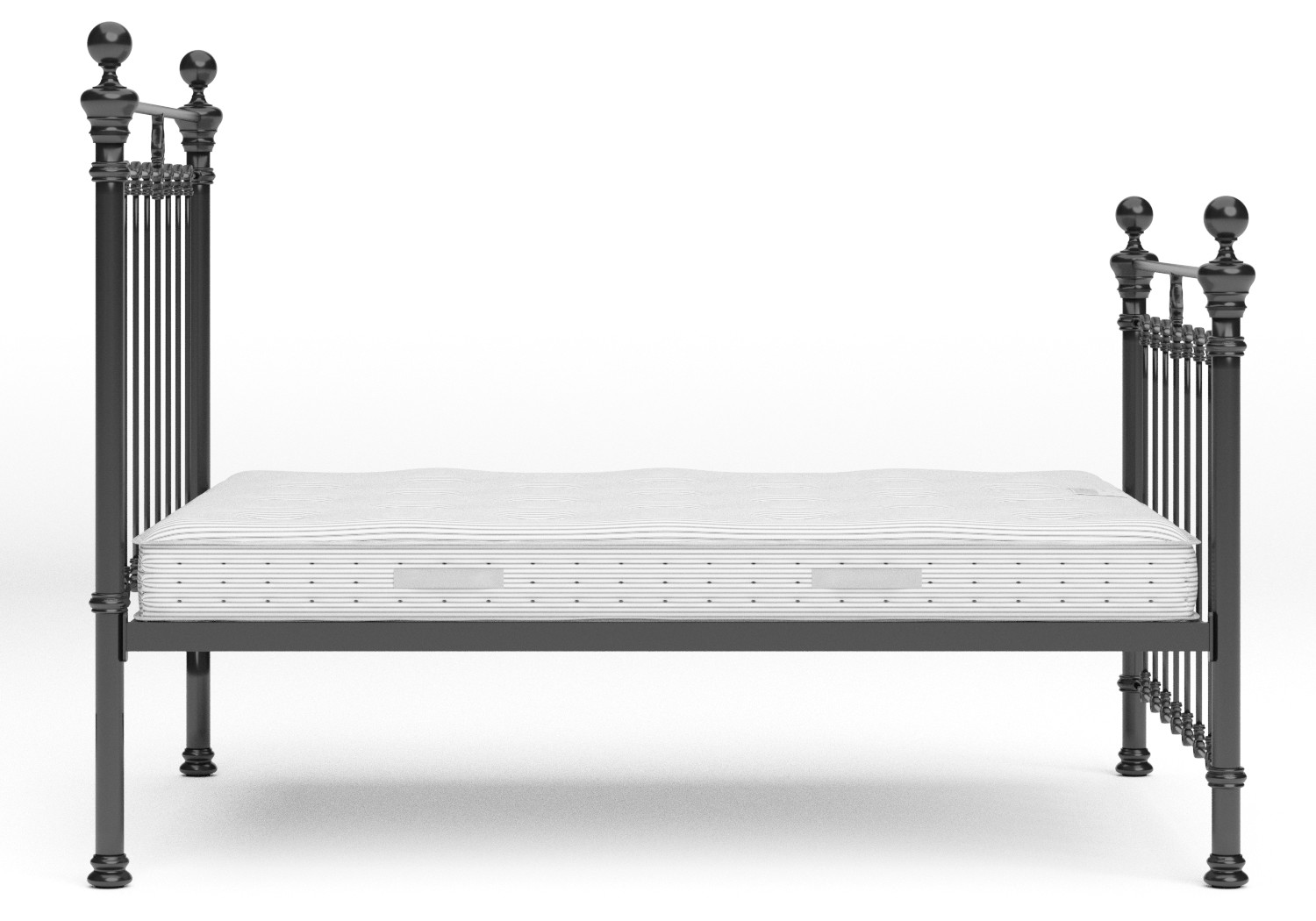 Hamilton Iron/Metal Bed in Satin Black with Black painted details shown with Juno 1 mattress