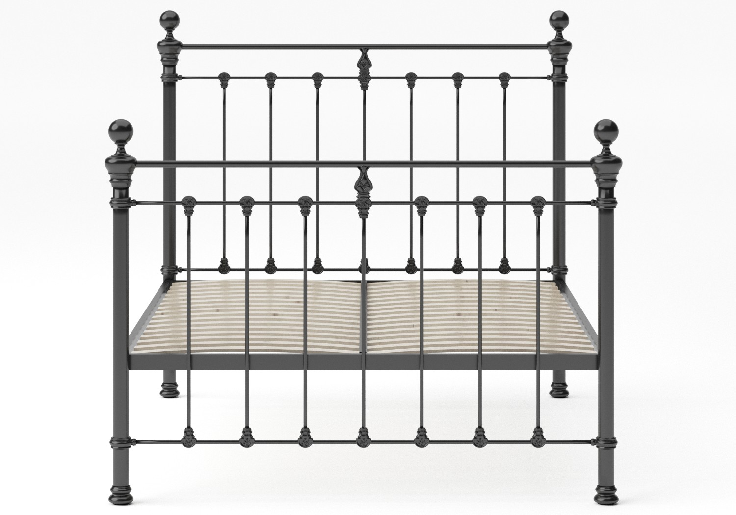 Hamilton Iron/Metal Bed in Satin Black with Black painted details shown with slatted frame