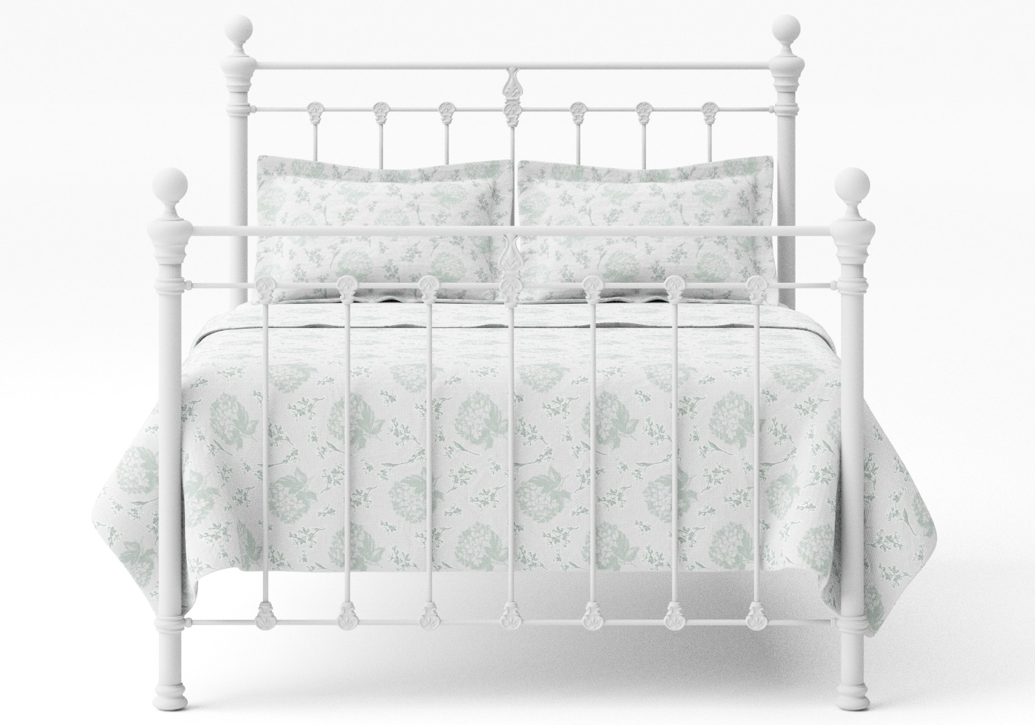 Hamilton Iron/Metal Bed in Satin White with white painted details