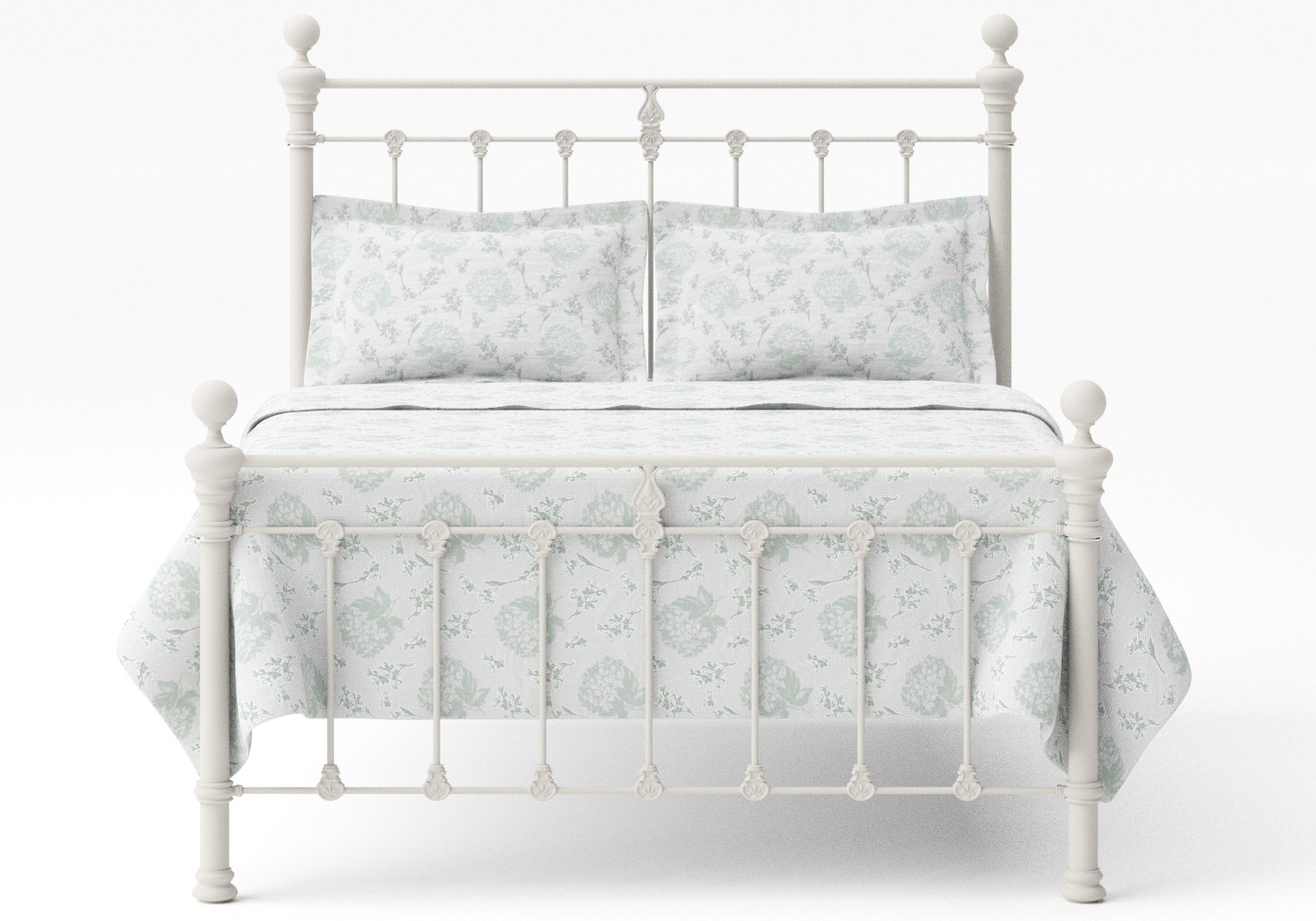 Hamilton Iron/Metal Bed in Glossy Ivory with ivory painted details