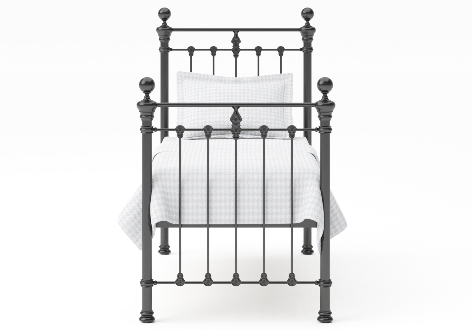 Hamilton Single Iron/Metal Bed in Satin Black with black painted details shown with Juno 1 mattress