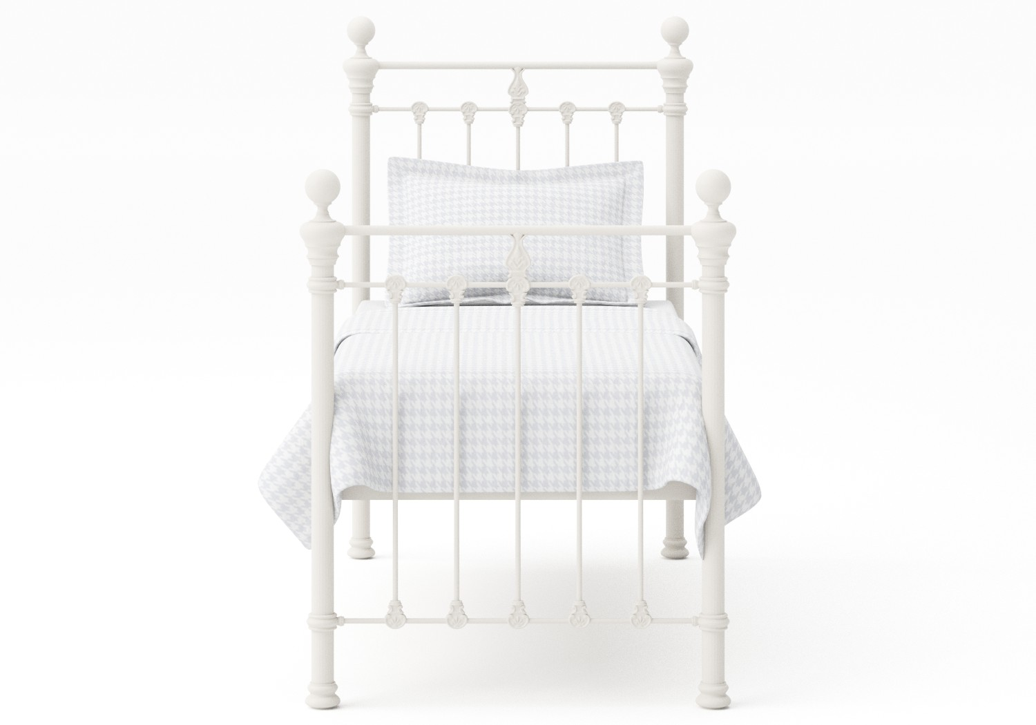 Hamilton Single Iron/Metal Bed in Glossy Ivory with ivory painted details