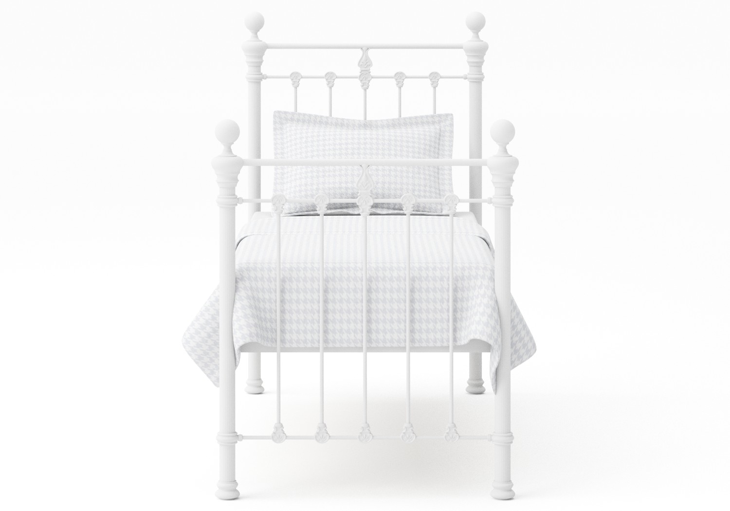 Hamilton Single Iron/Metal Bed in Satin White with white painted details