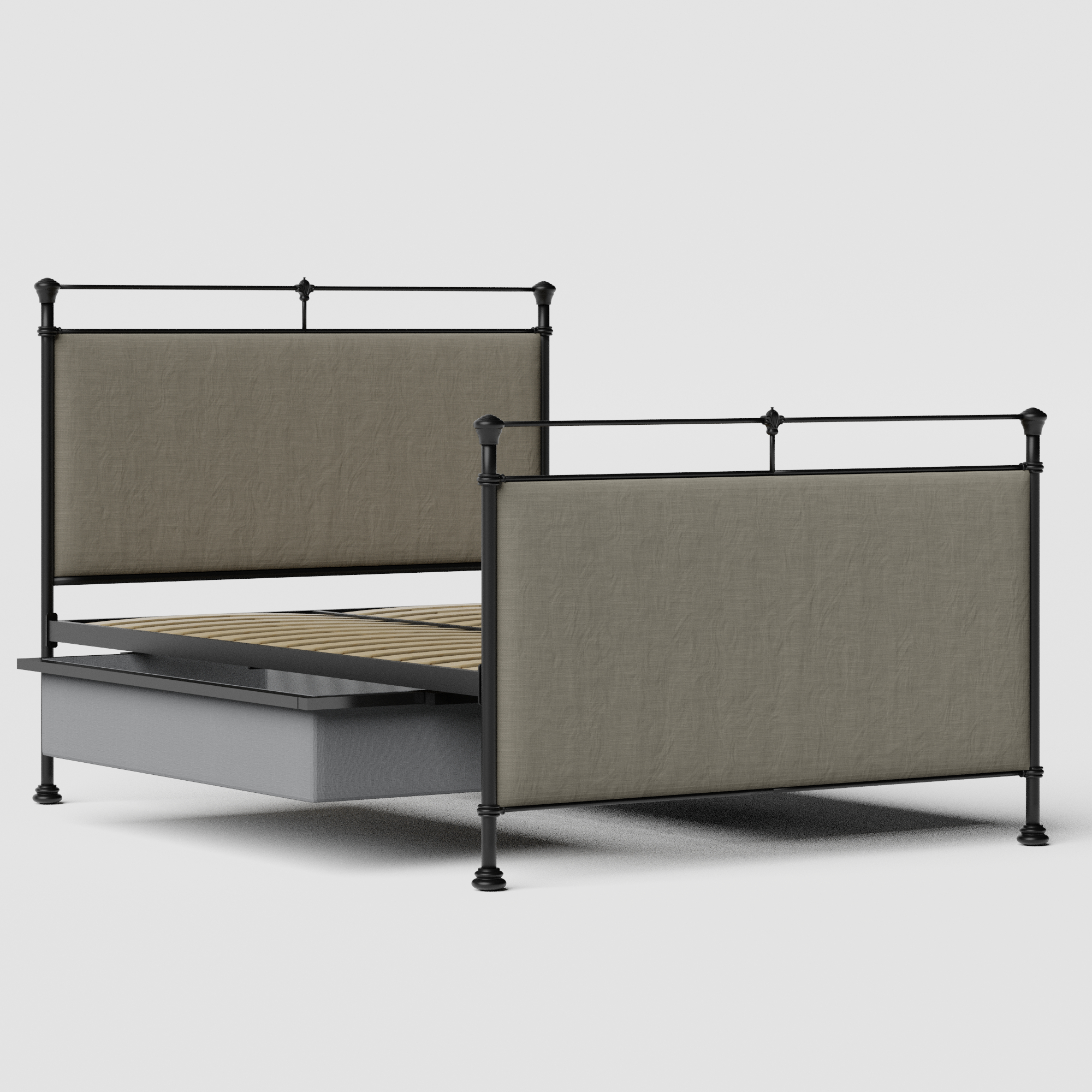 Lille iron/metal upholstered bed in black with drawers
