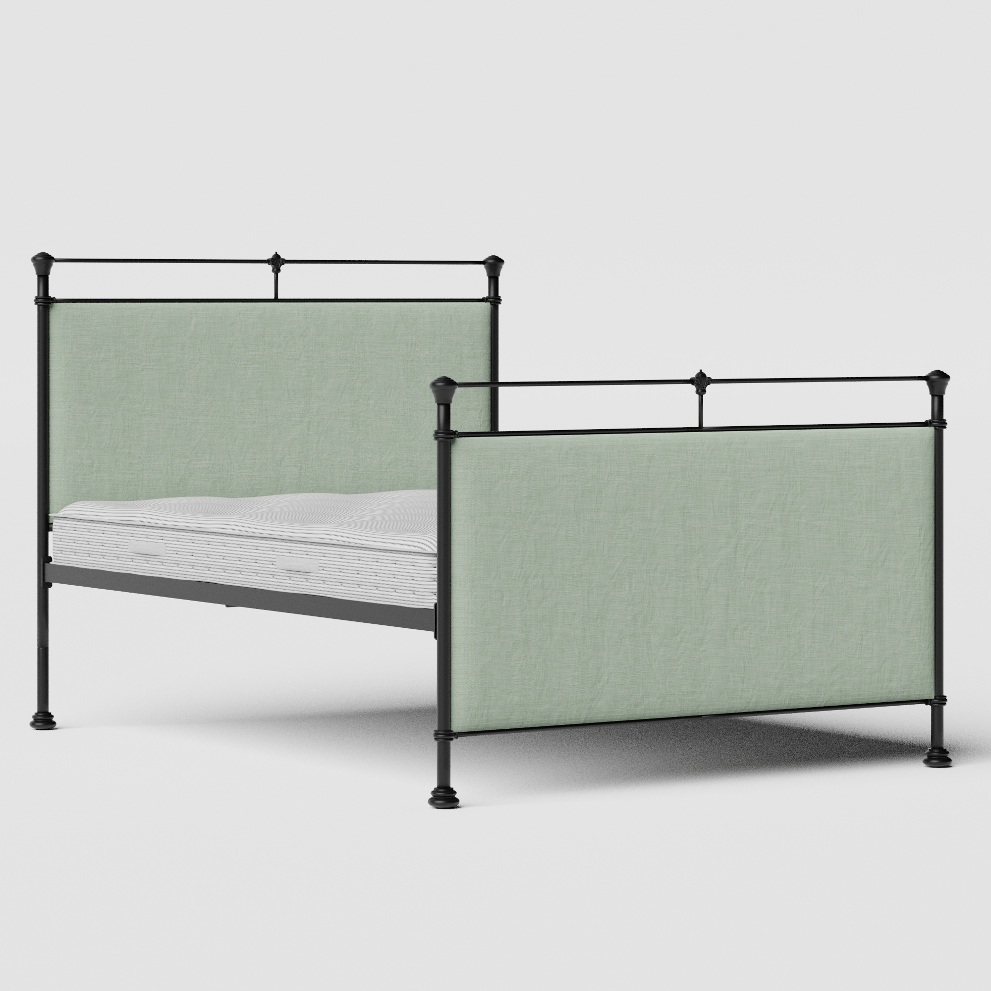 Lille iron/metal upholstered bed in black with duckegg fabric