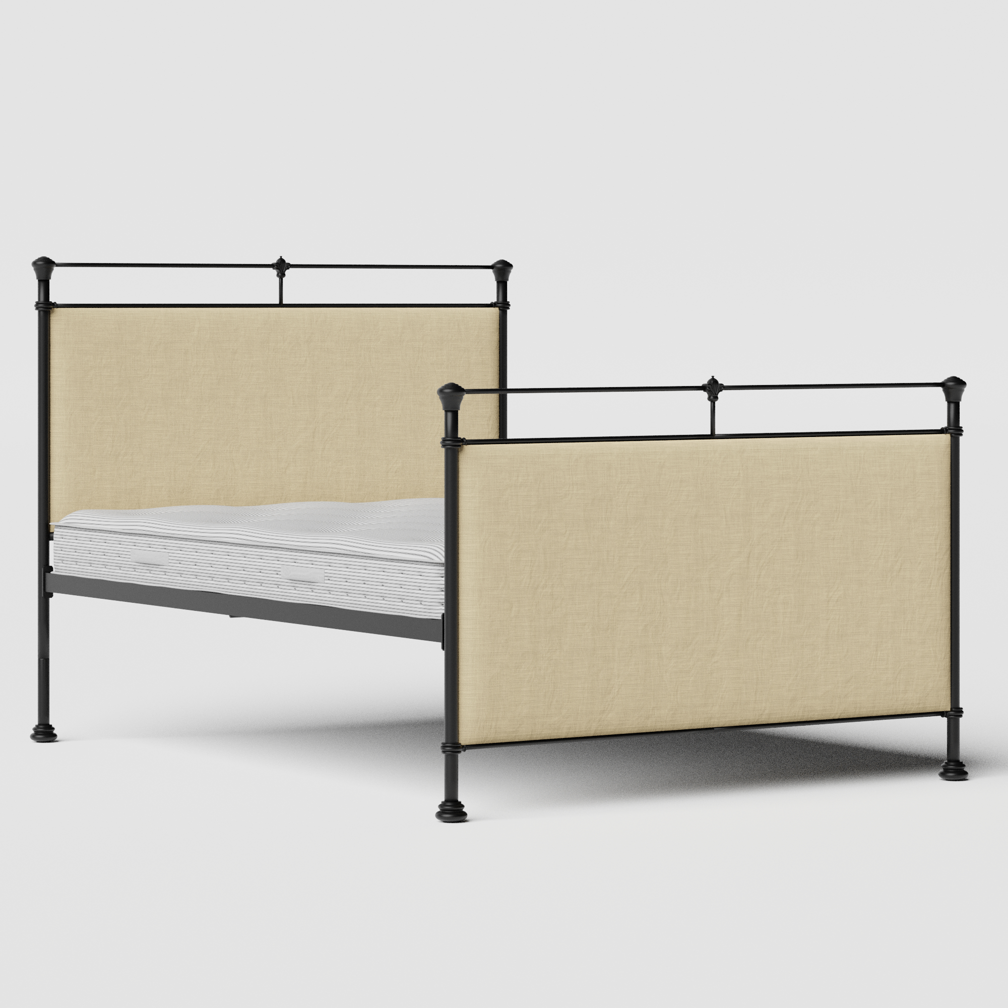 Lille iron/metal upholstered bed in black with natural fabric