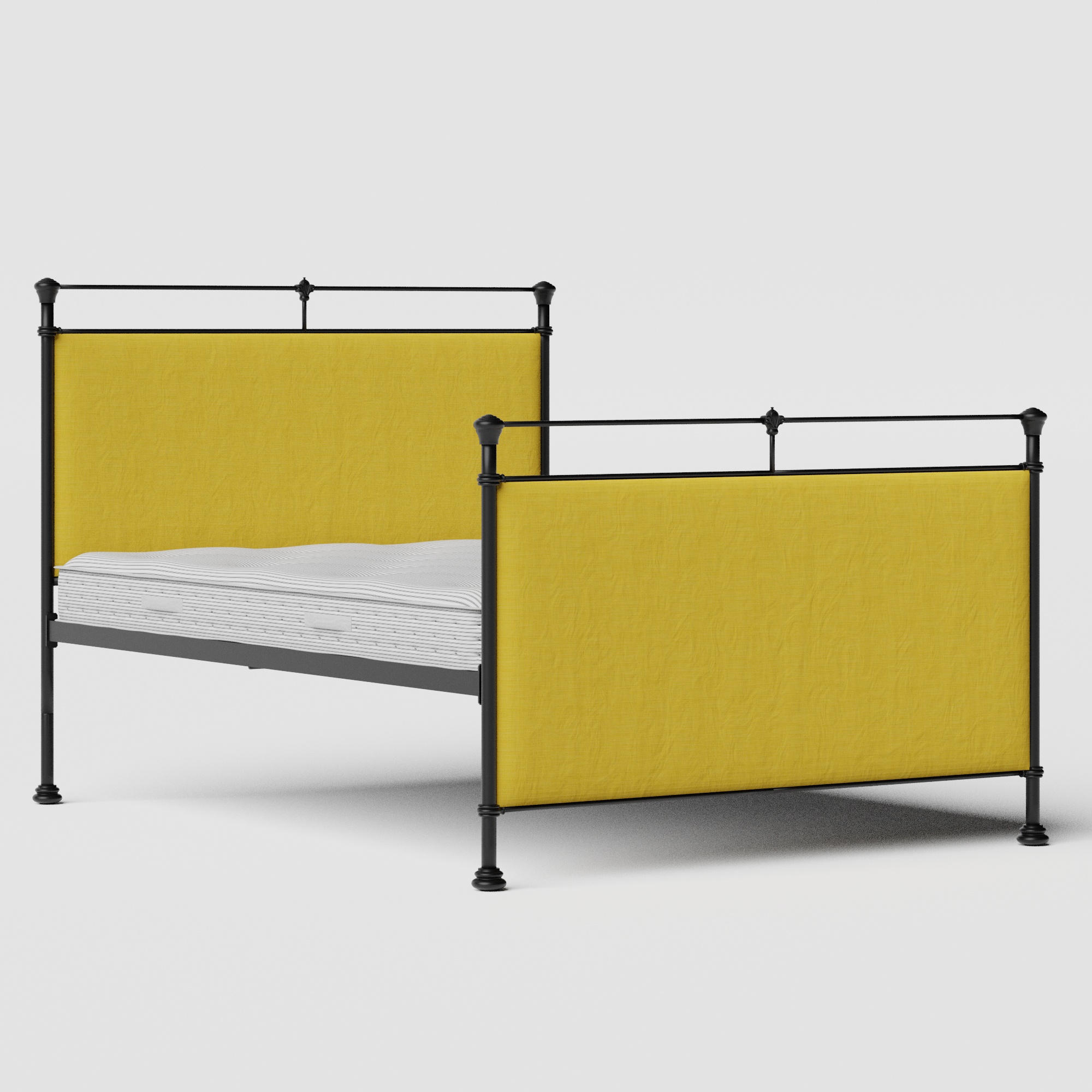 Lille iron/metal upholstered bed in black with sunflower fabric