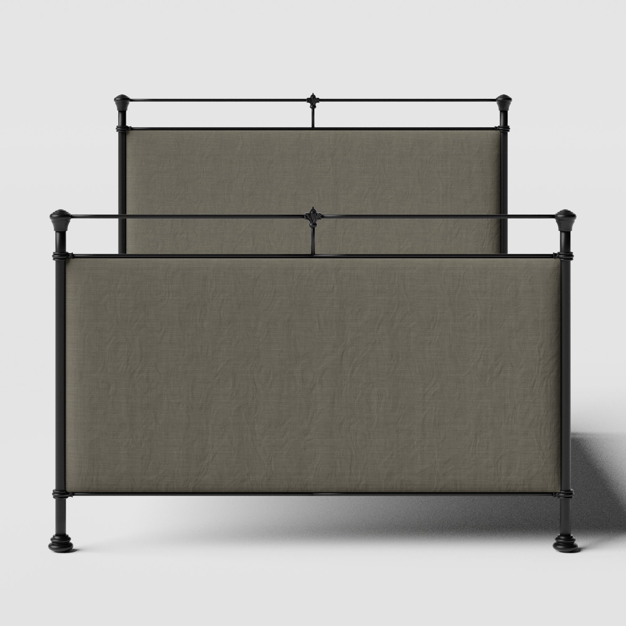 Lille iron/metal upholstered bed in black with grey fabric