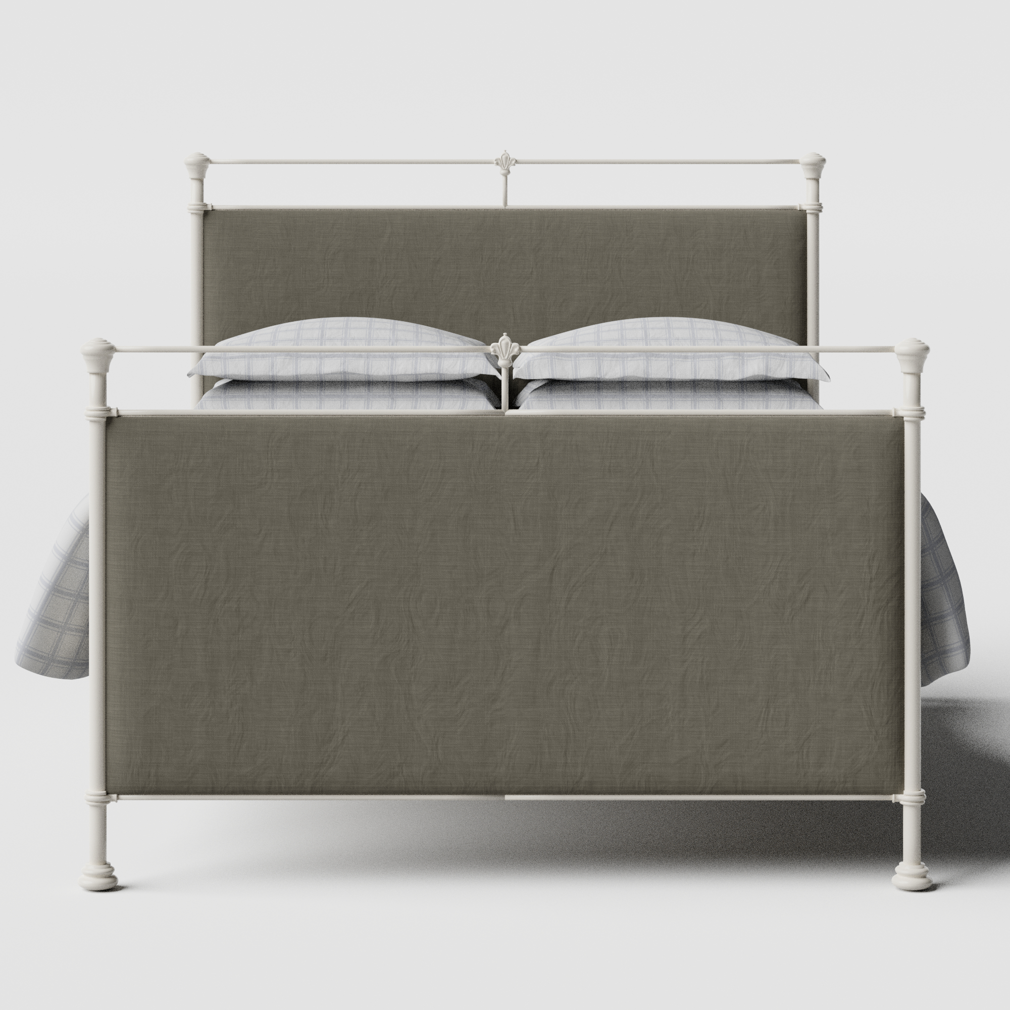 Lille iron/metal upholstered bed in ivory with grey fabric