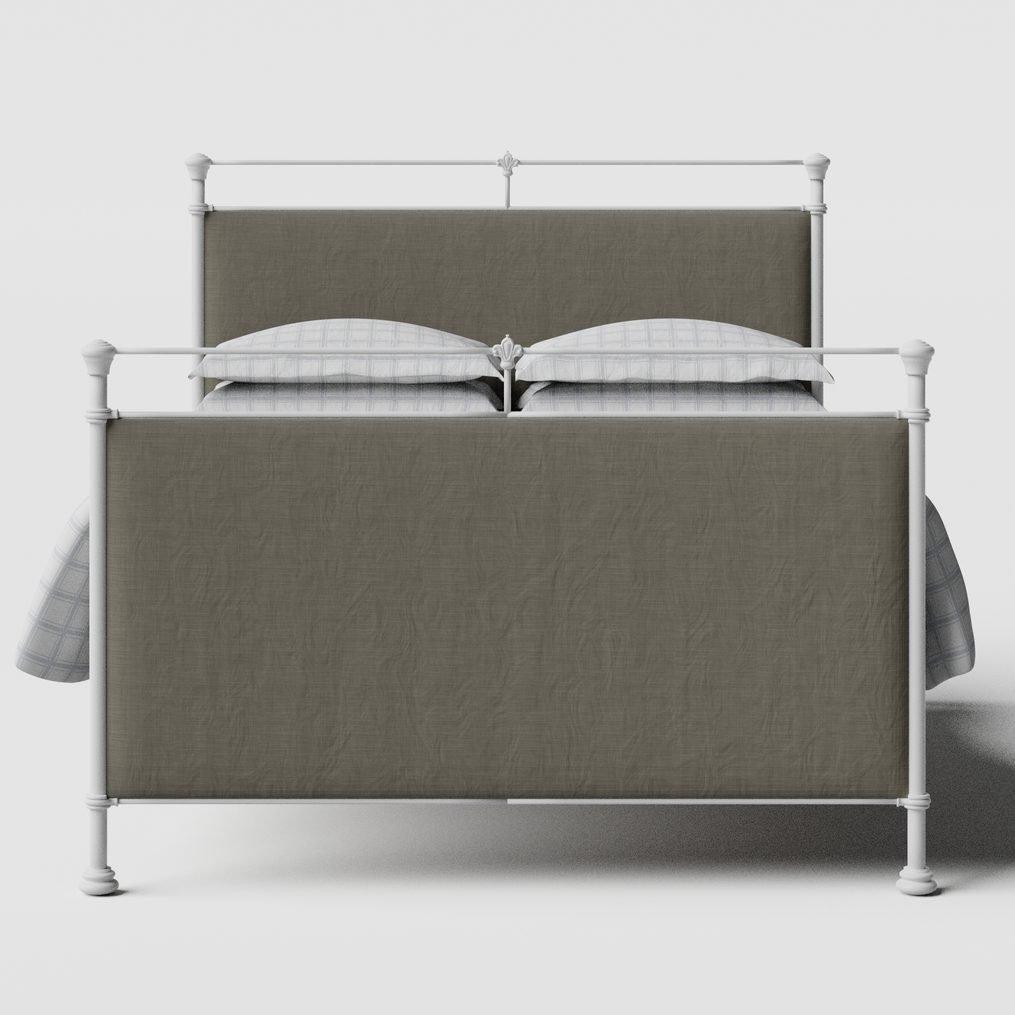 Lille iron/metal upholstered bed in white with grey fabric