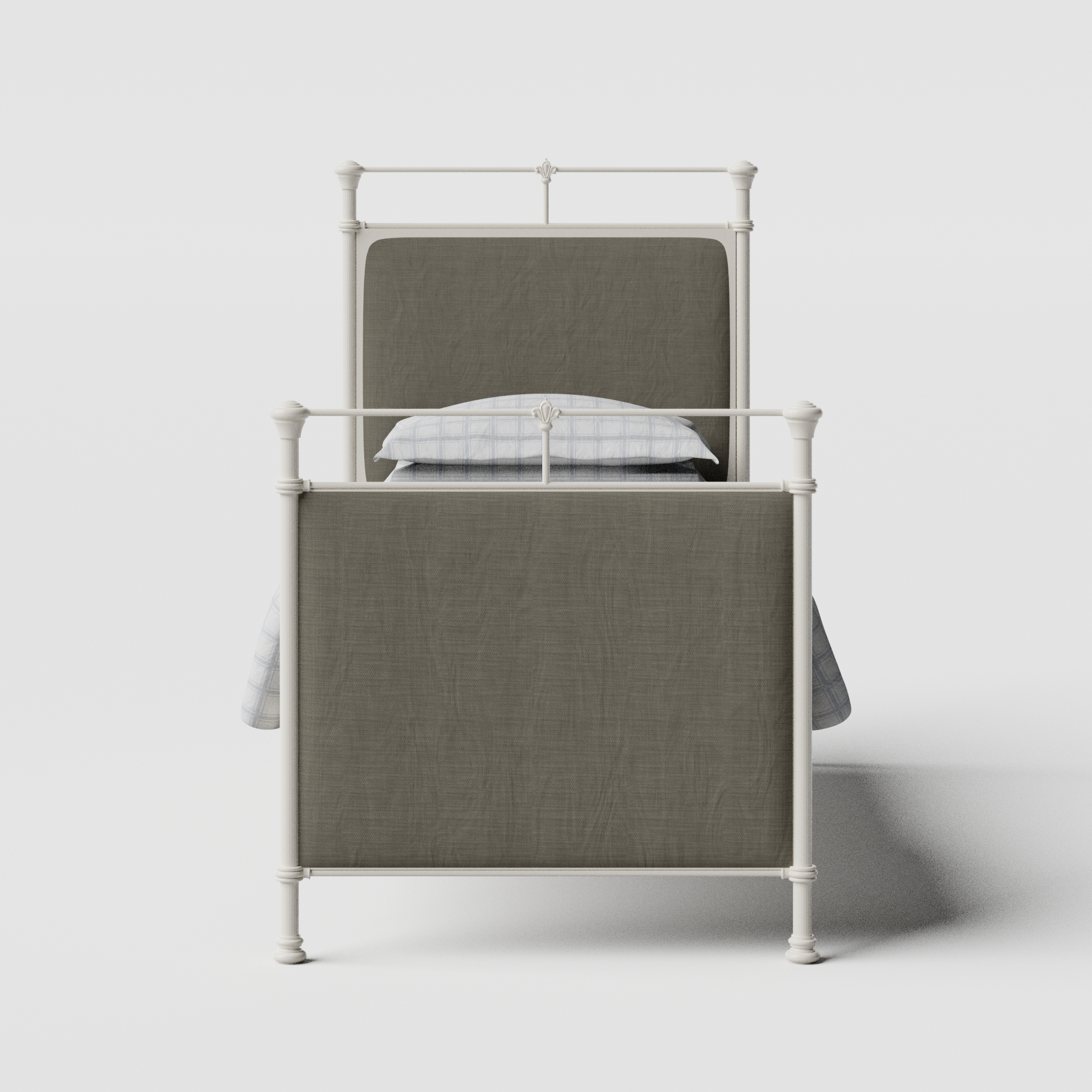 Lille iron/metal single bed in ivory