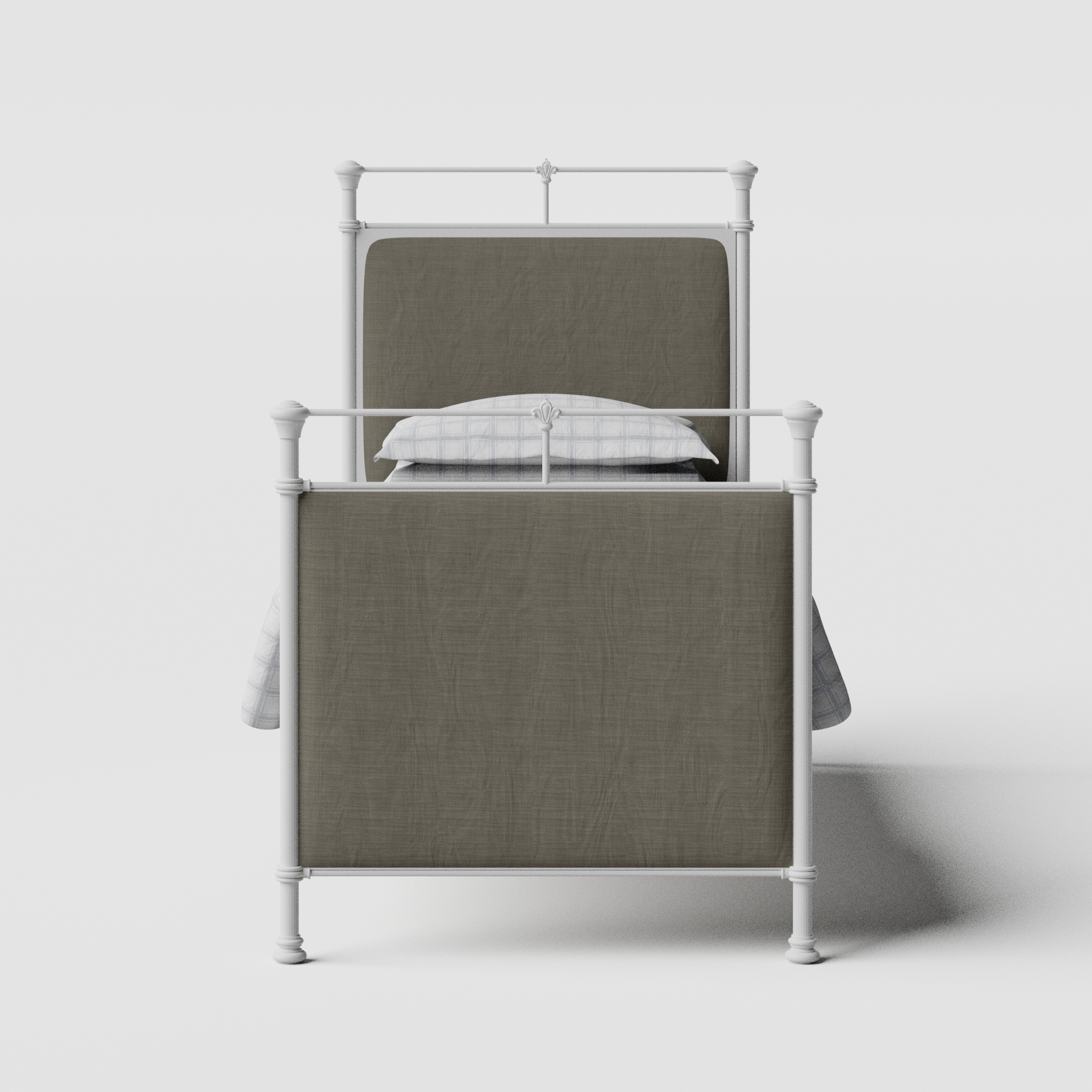 Lille iron/metal single bed in white