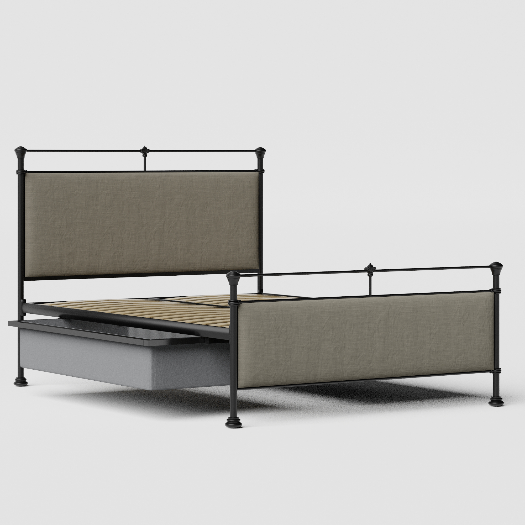 Nancy iron/metal upholstered bed in black with drawers