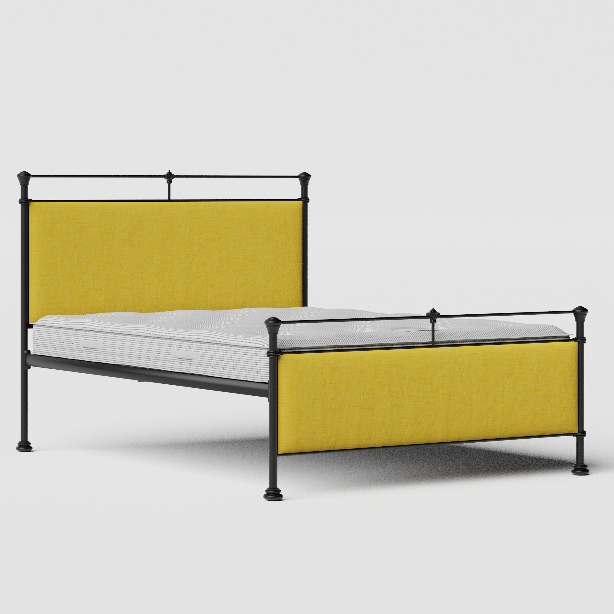 Nancy iron/metal upholstered bed in black with sunflower fabric