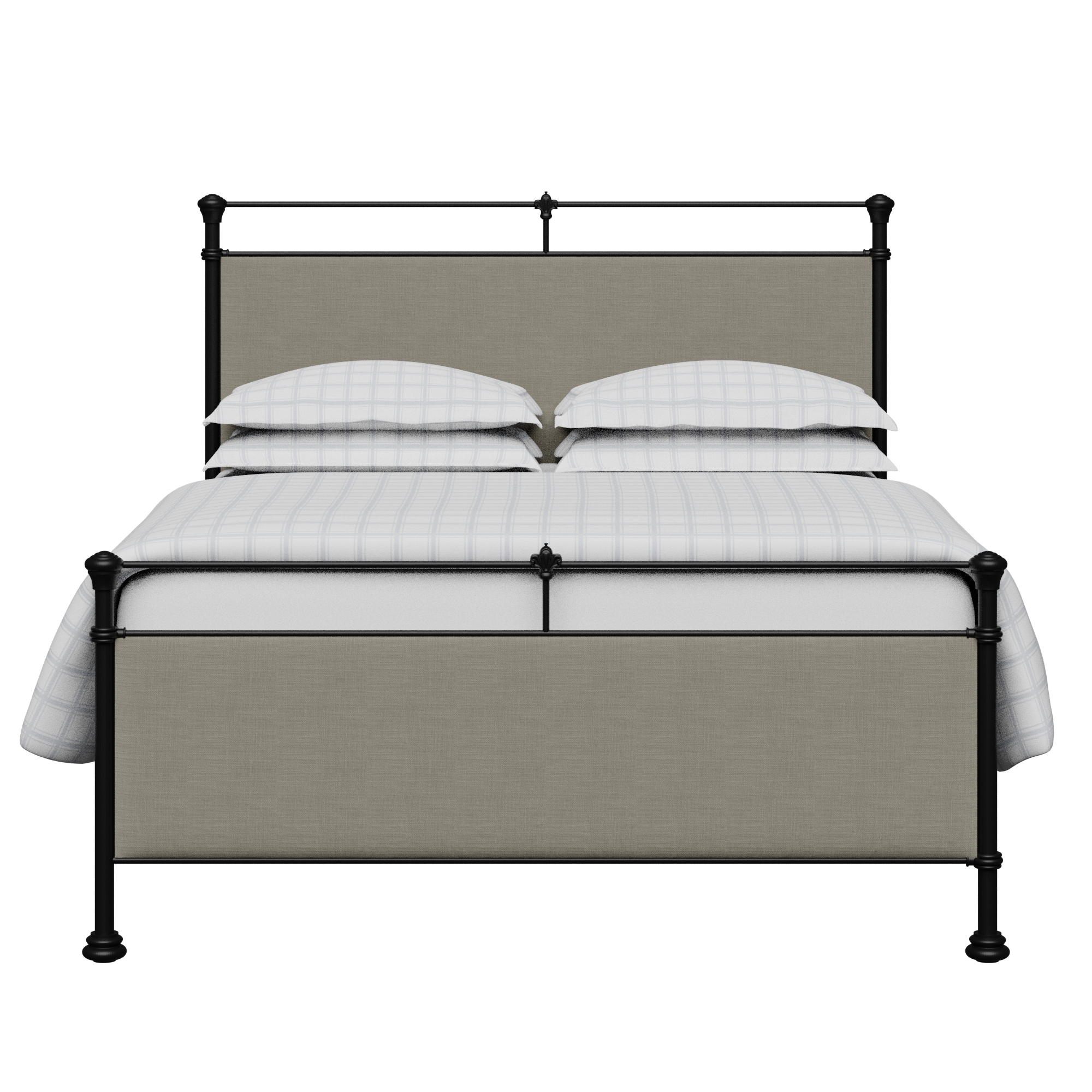 Nancy iron/metal upholstered bed in black with grey fabric