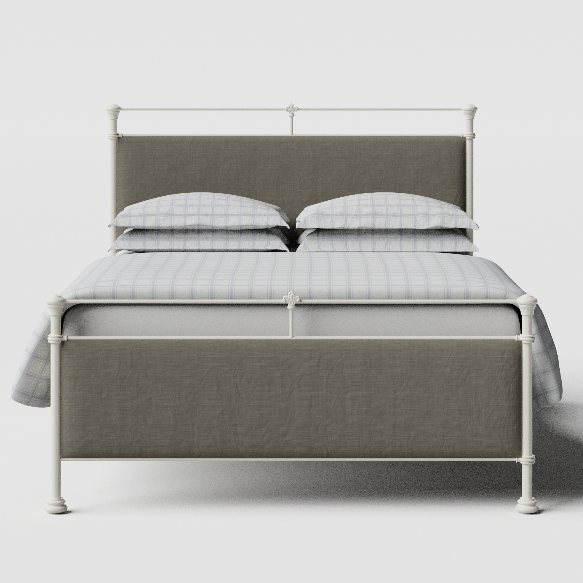 Nancy iron/metal upholstered bed in ivory with grey fabric