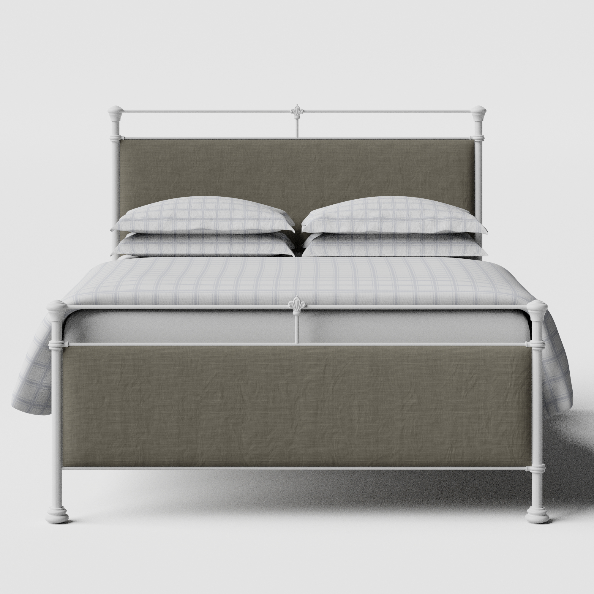 Nancy iron/metal upholstered bed in white with grey fabric