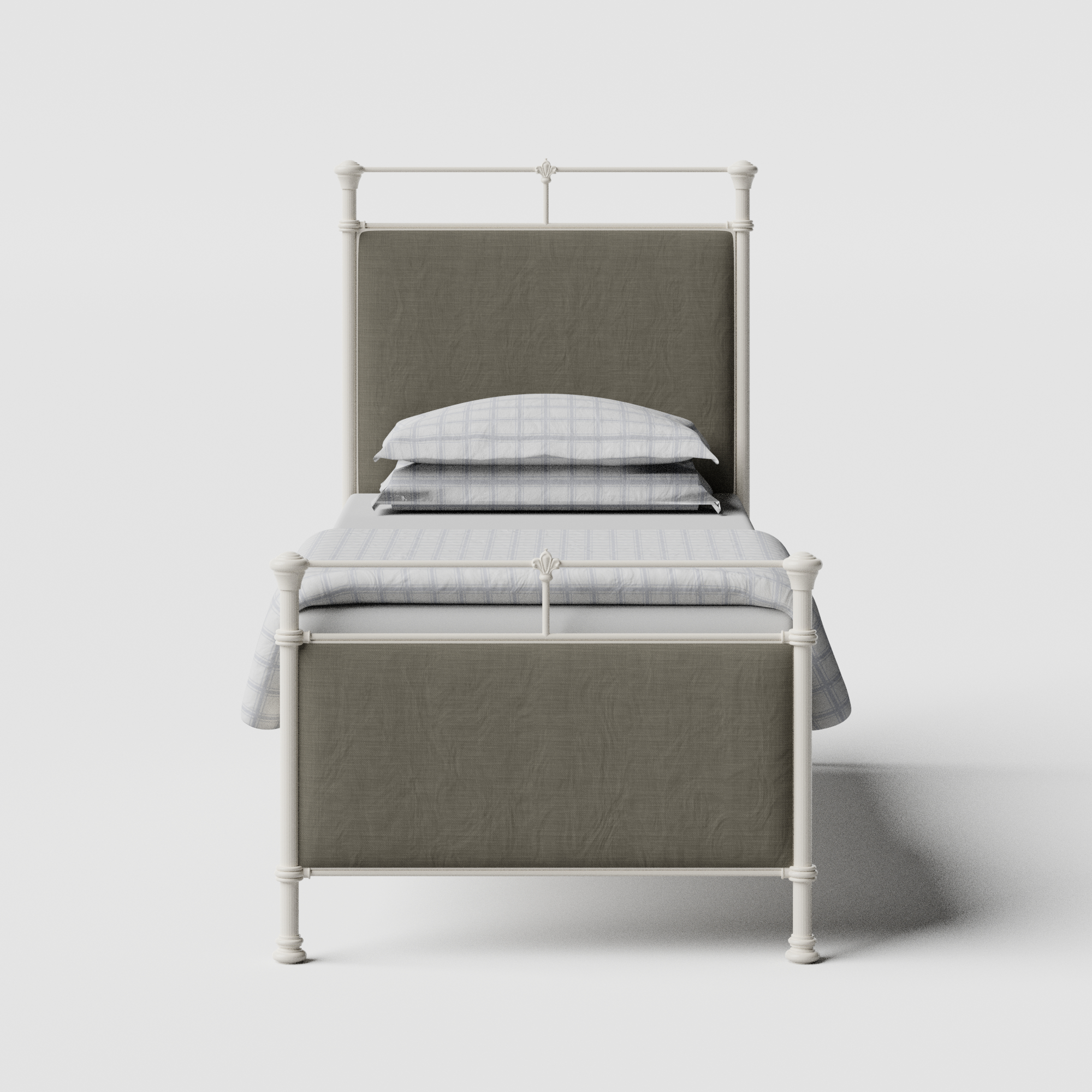 Nancy iron/metal single bed in ivory