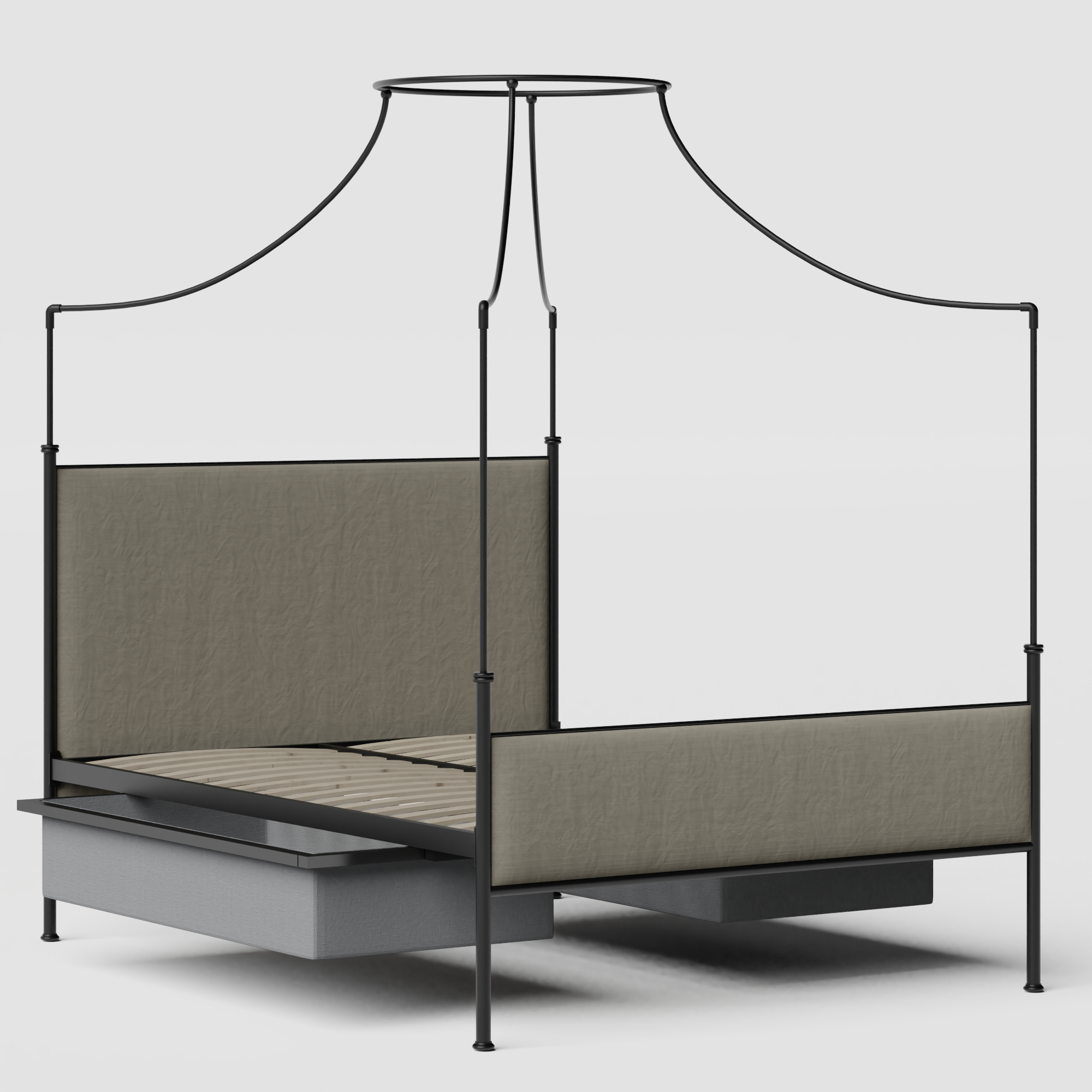 Waterloo iron/metal upholstered bed in black with drawers