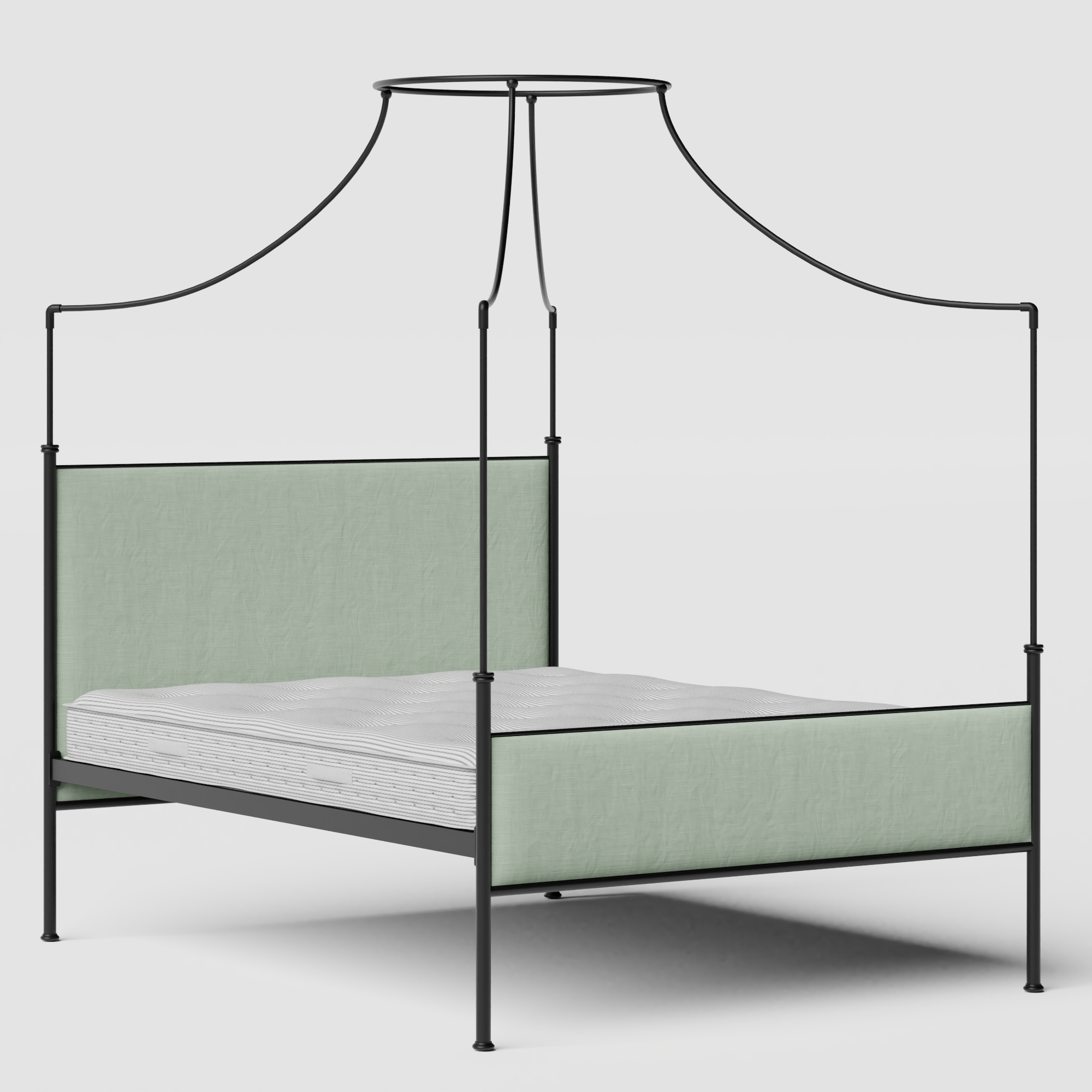 Waterloo iron/metal upholstered bed in black with duckegg fabric