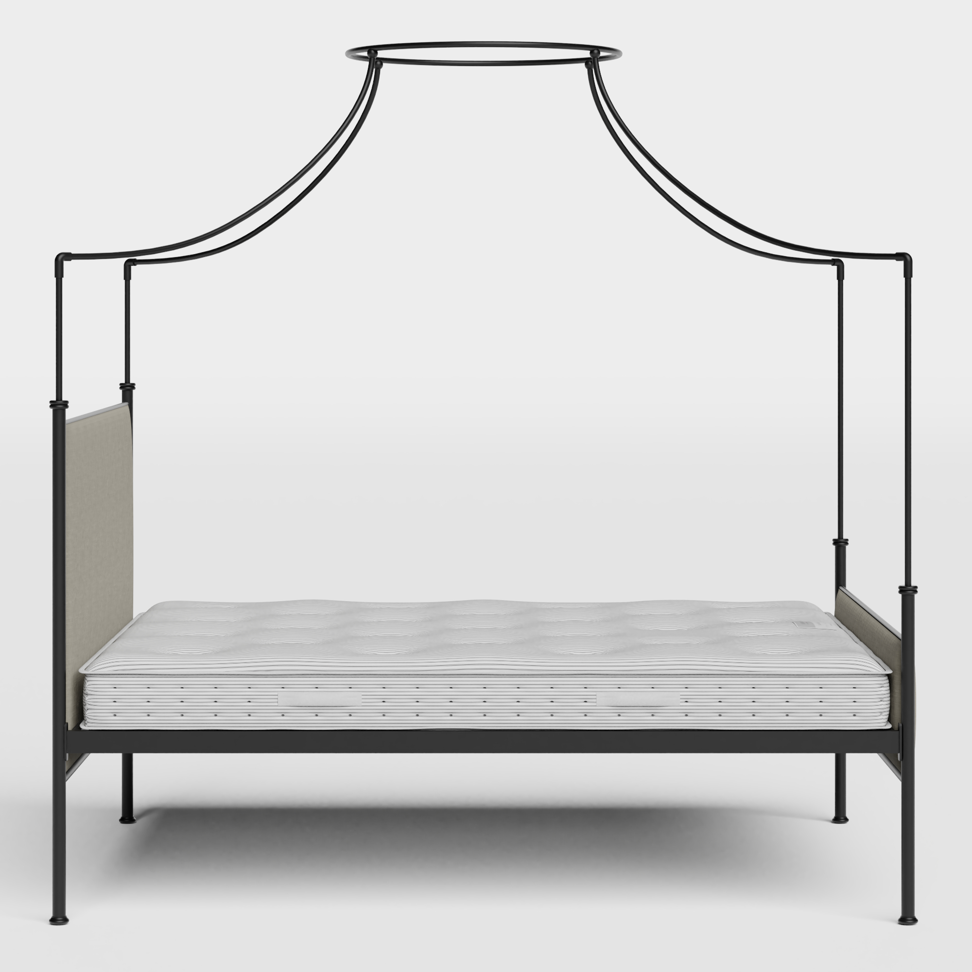 Waterloo iron/metal upholstered bed in black with grey fabric