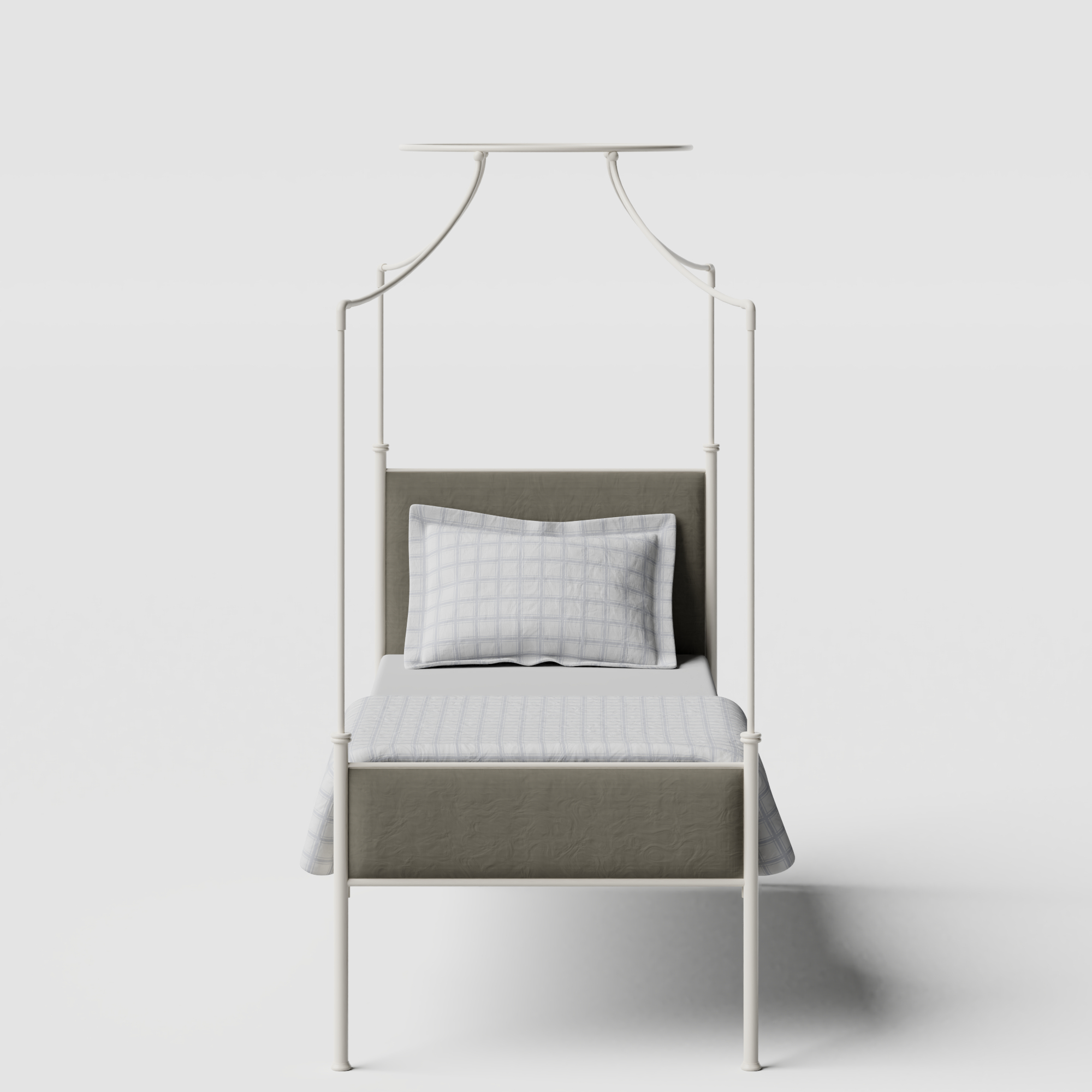 Waterloo iron/metal single bed in ivory