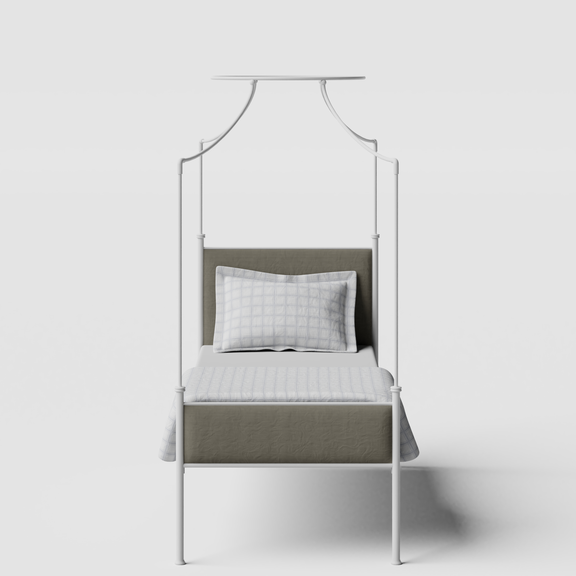 Waterloo iron/metal single bed in white