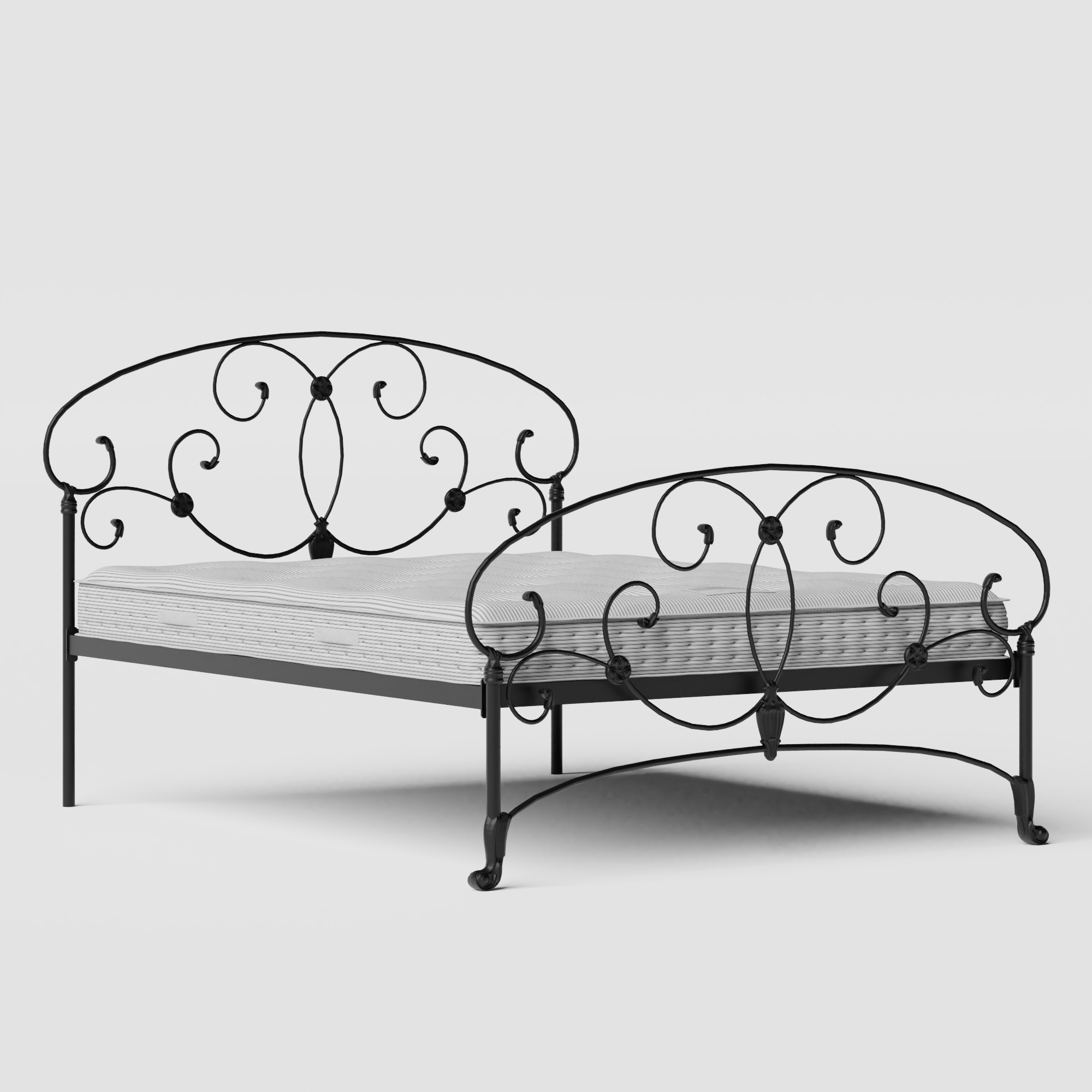 Arigna iron/metal bed in black with Juno mattress