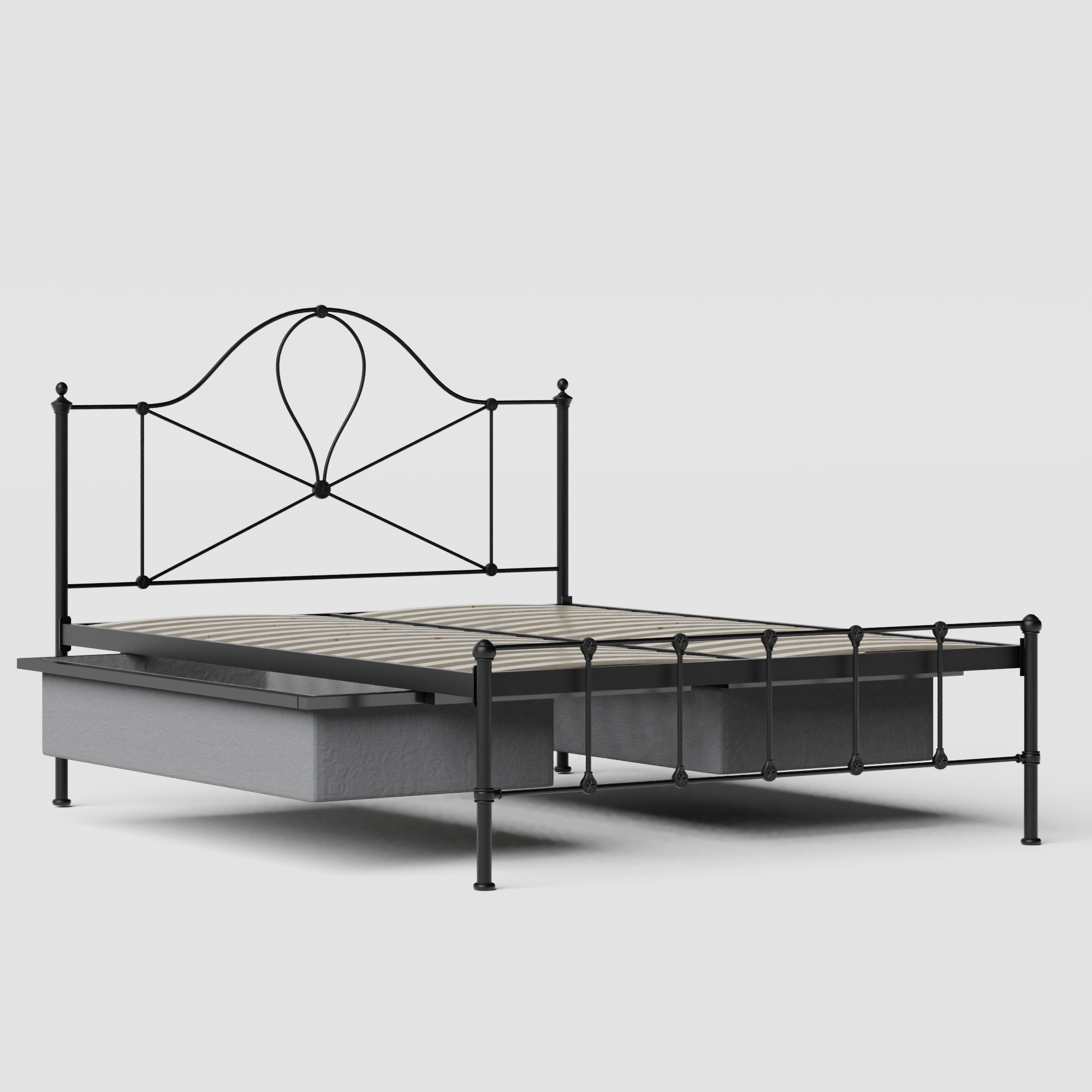 Athena iron/metal bed in black with drawers