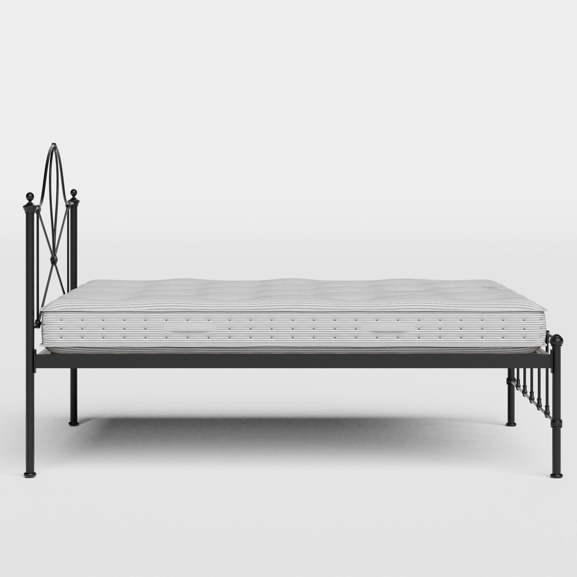Athena iron/metal bed in black with Juno mattress