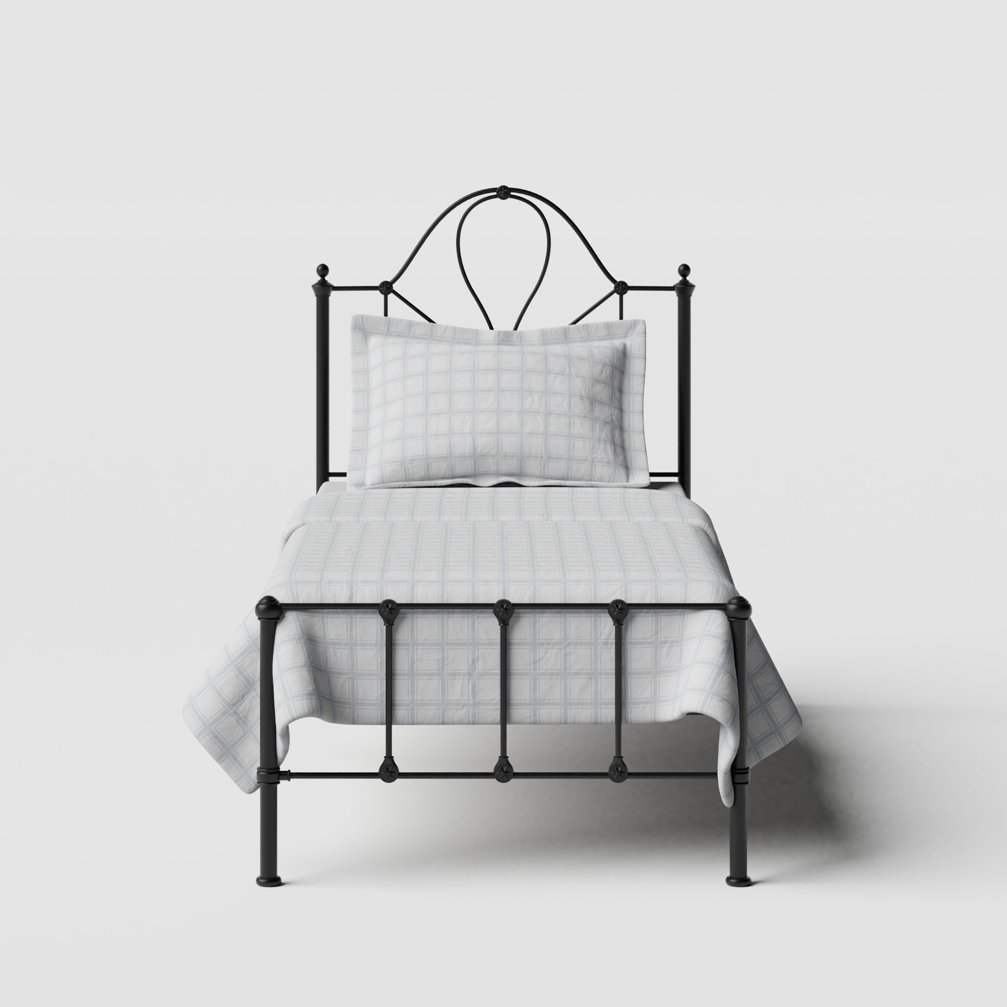 Athena iron/metal single bed in black