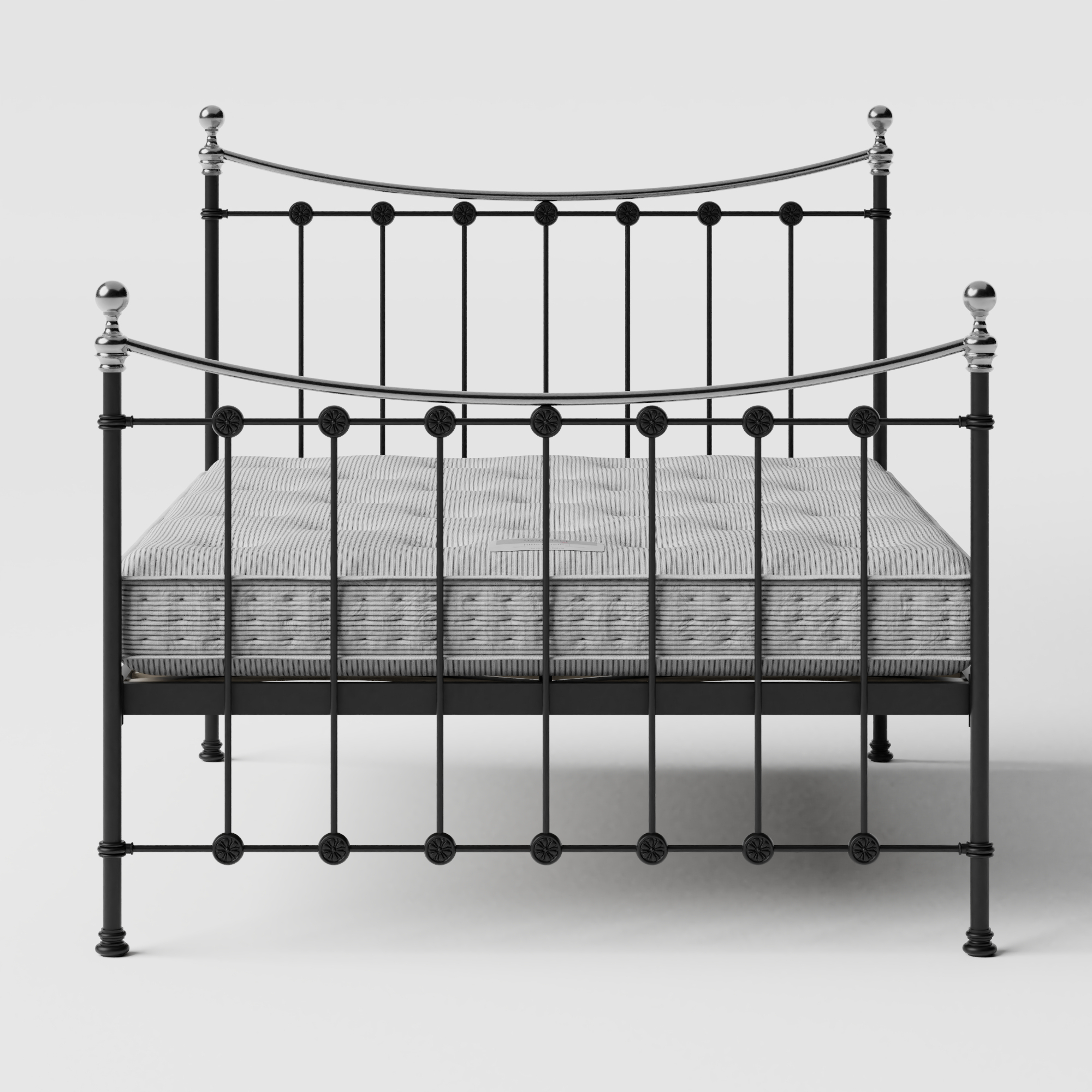 Carrick Chromo iron/metal bed in black with Juno mattress
