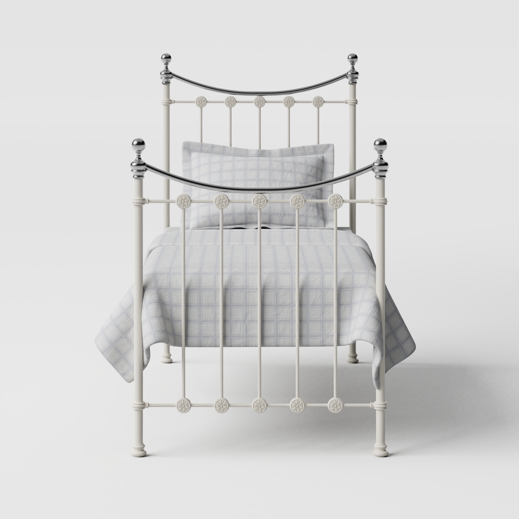 Carrick Chromo iron/metal single bed in ivory