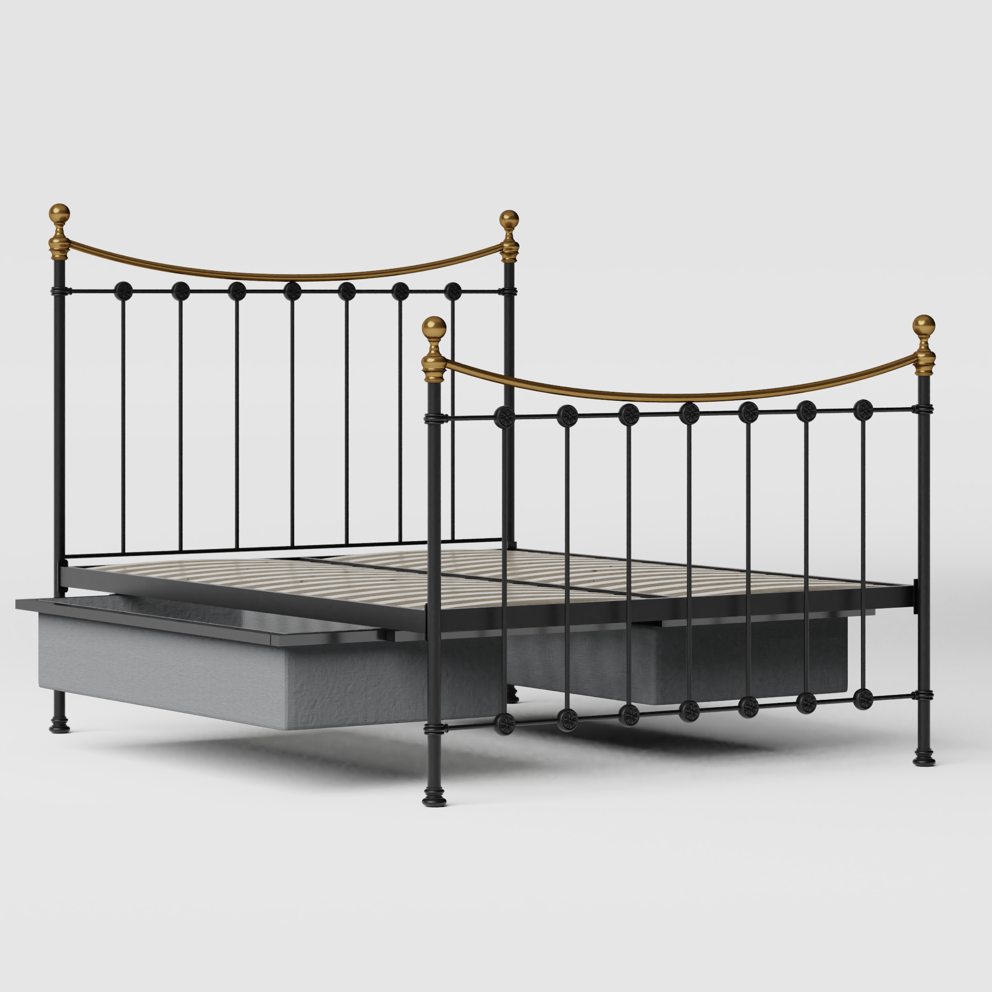Carrick iron/metal bed in black with drawers