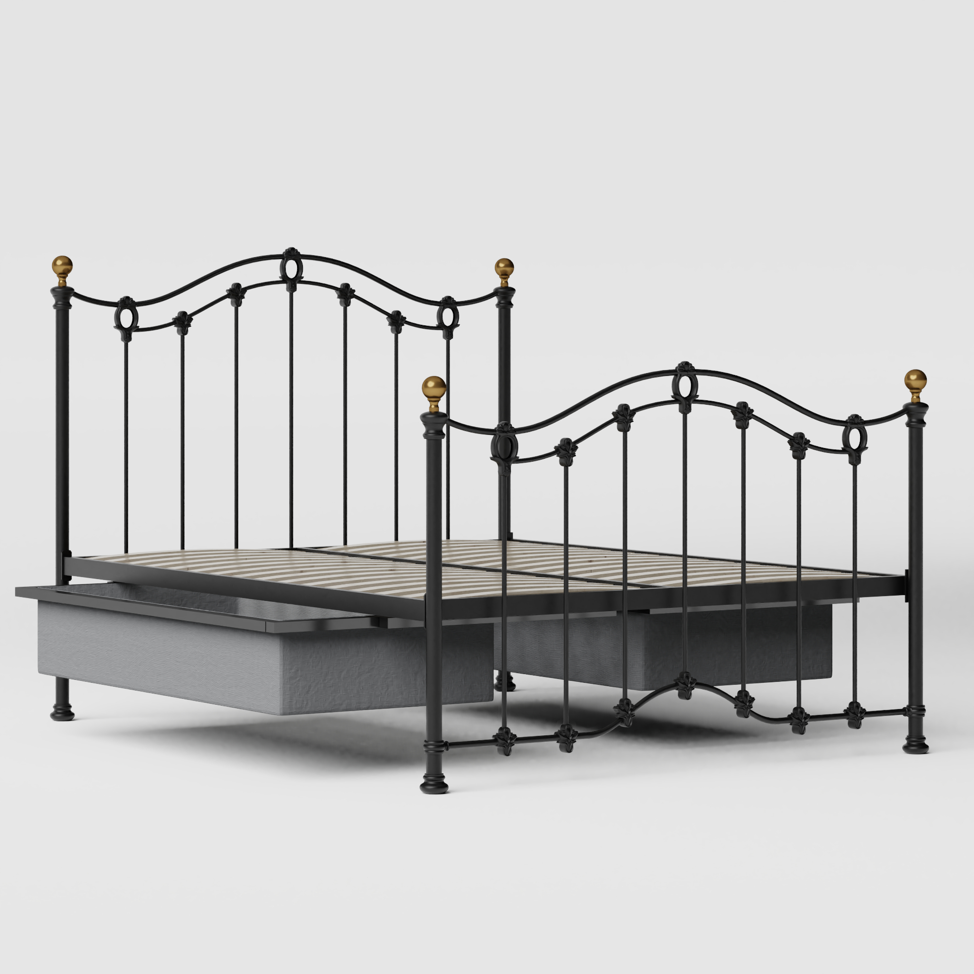Clarina iron/metal bed in black with drawers