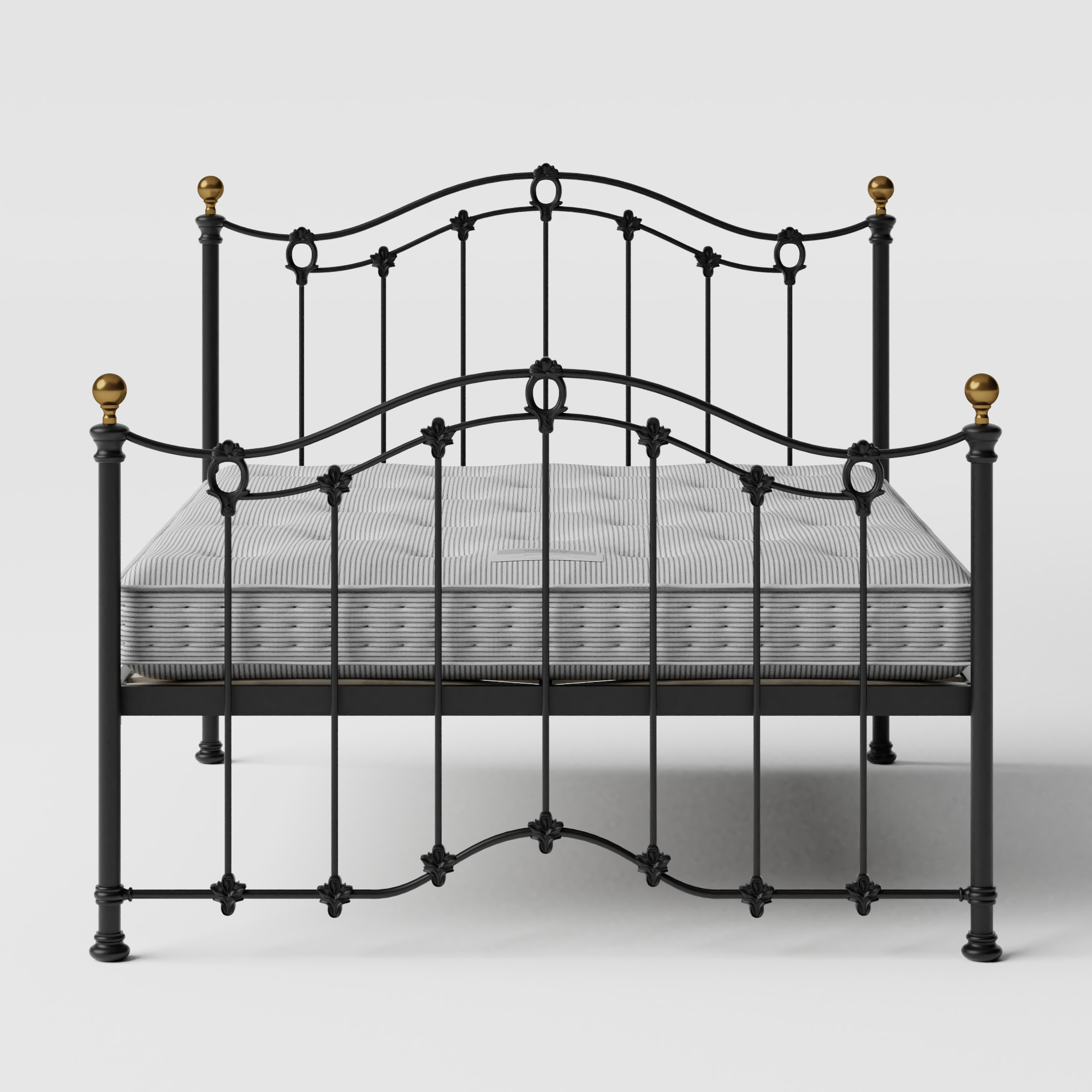 Clarina iron/metal bed in black with Juno mattress