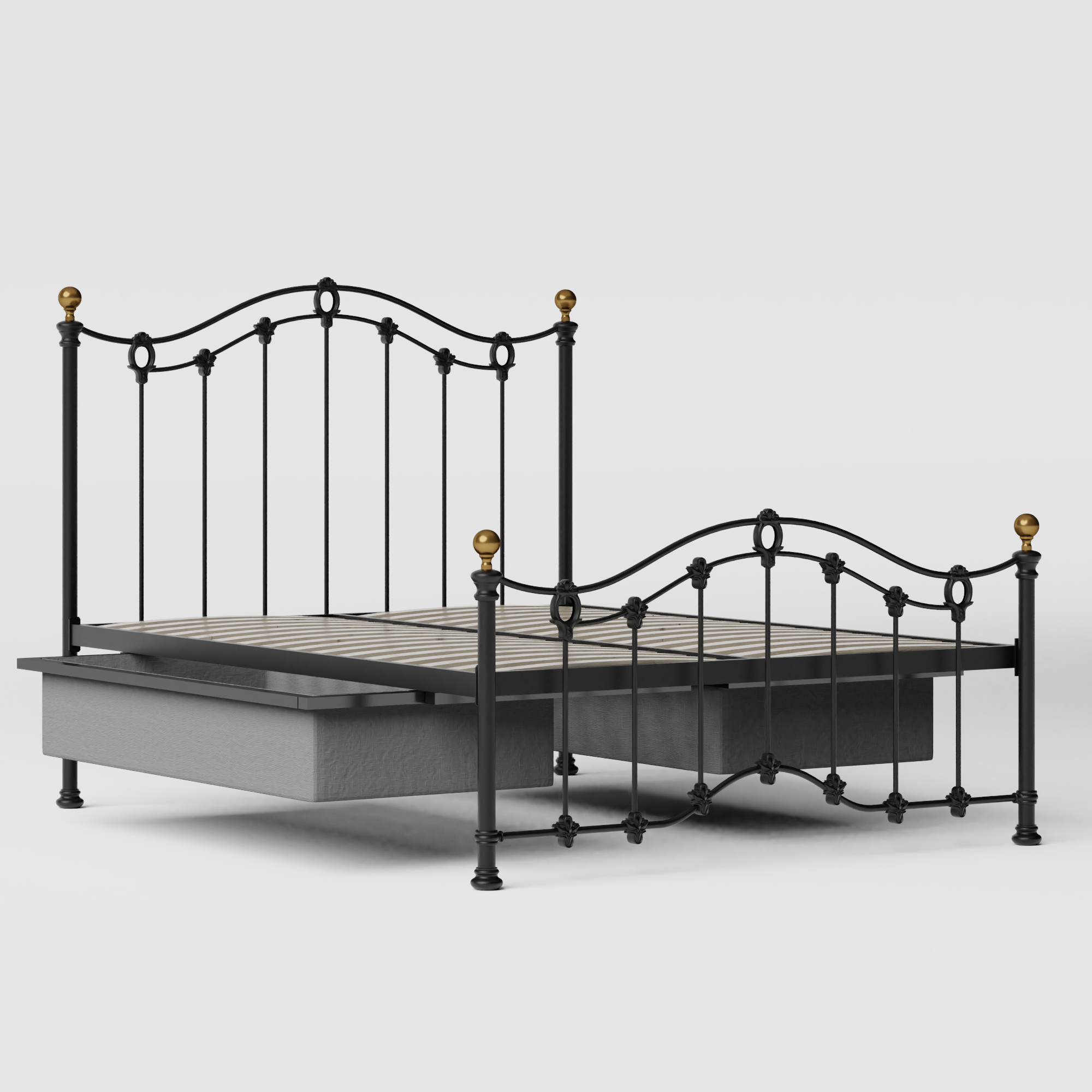 Clarina Low Footend iron/metal bed in black with drawers