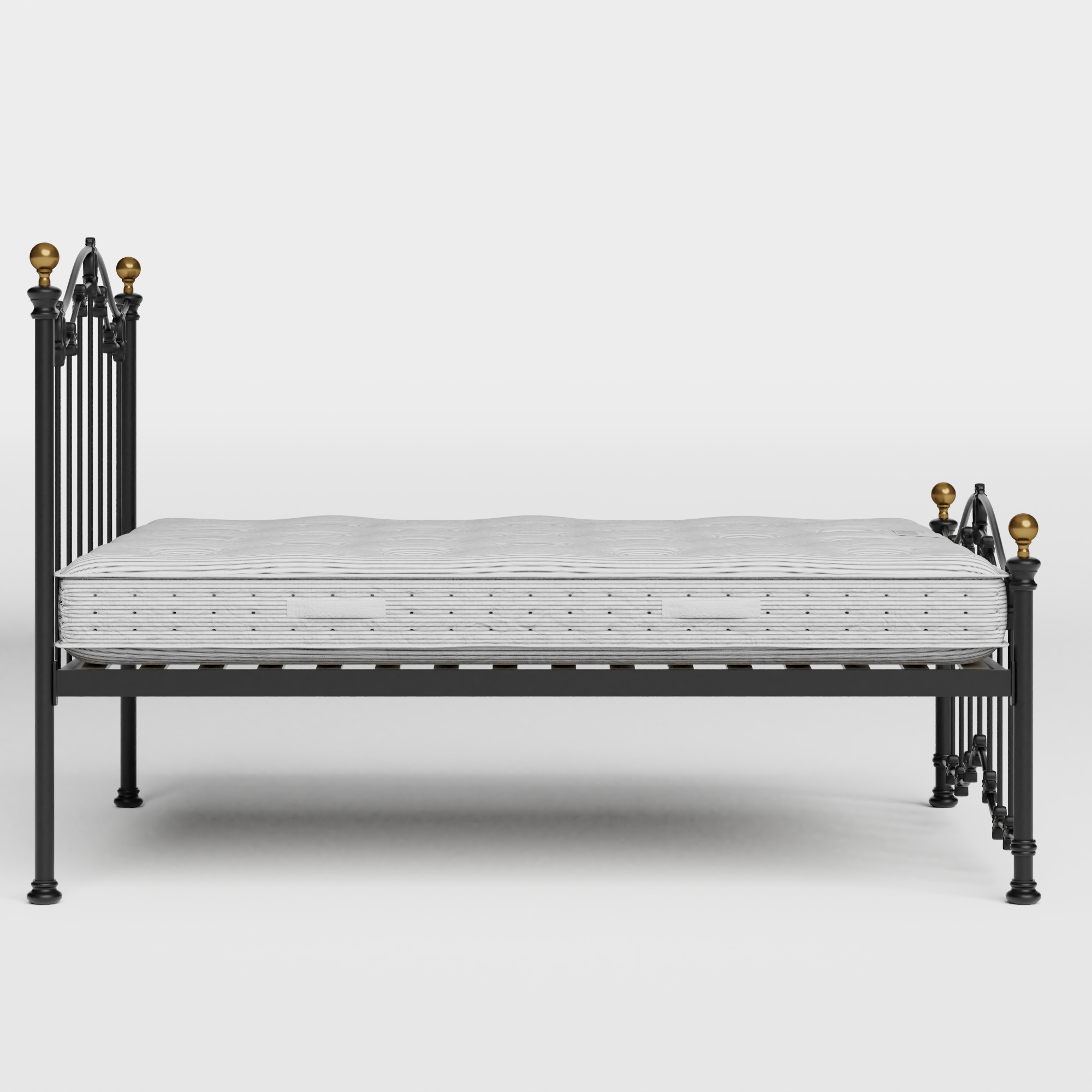 Clarina Low Footend iron/metal bed in black with Juno mattress