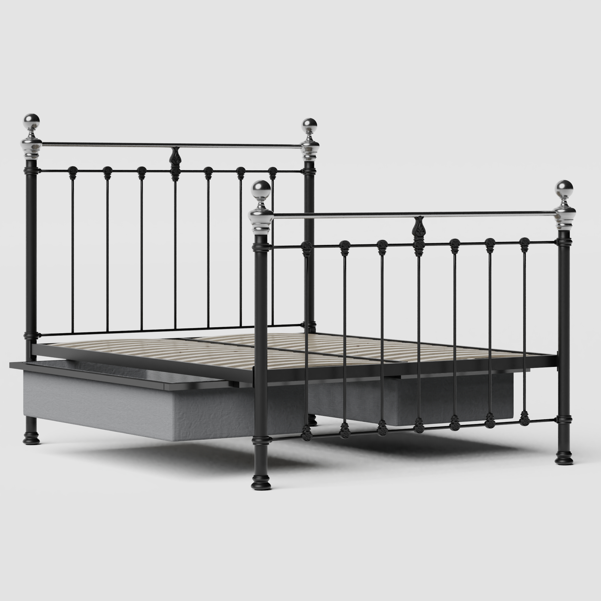 Hamilton Chromo iron/metal bed in black with drawers