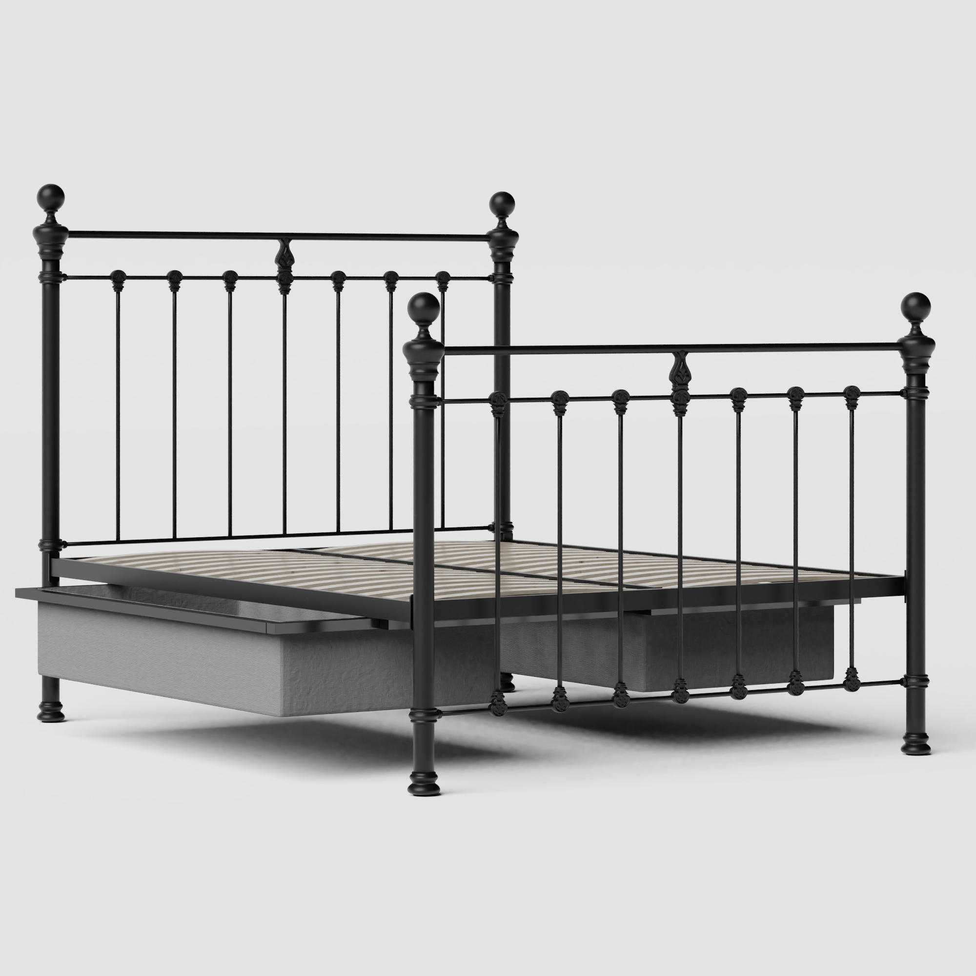 Hamilton Solo iron/metal bed in black with drawers