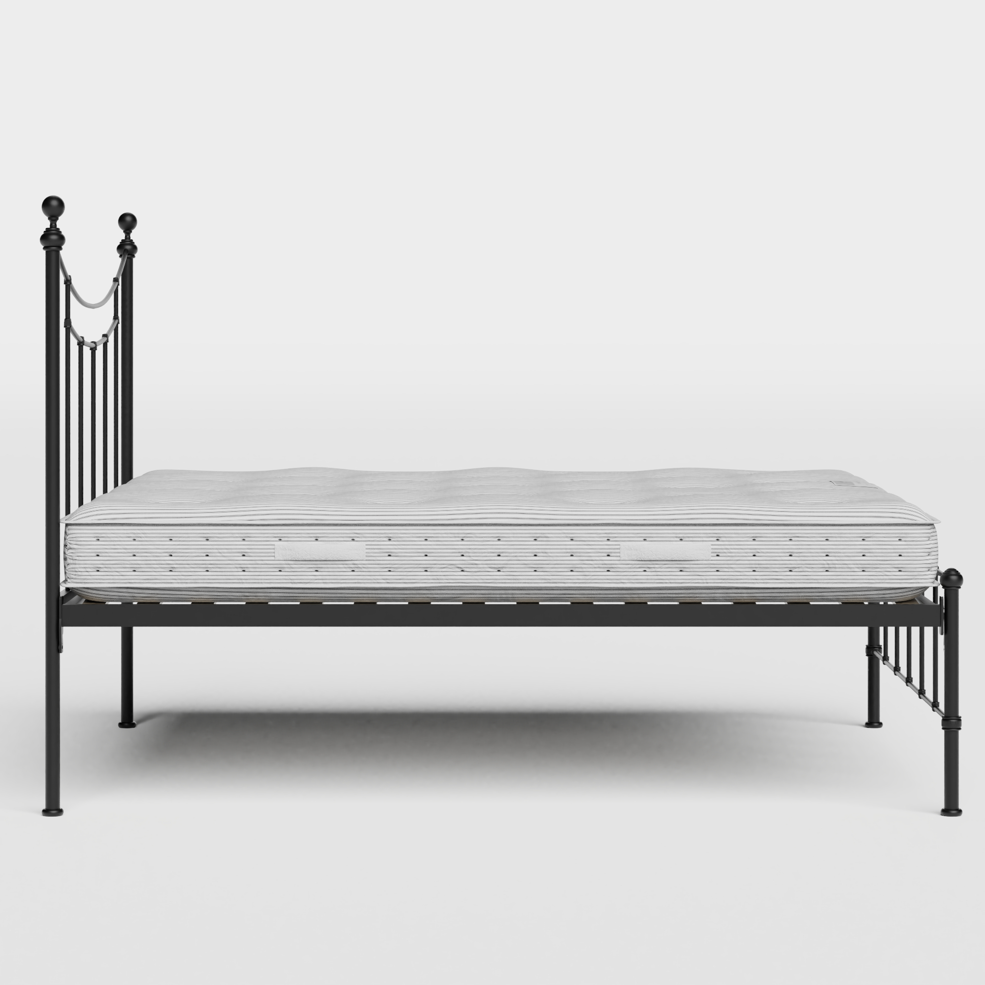 Isabelle iron/metal bed in black with Juno mattress