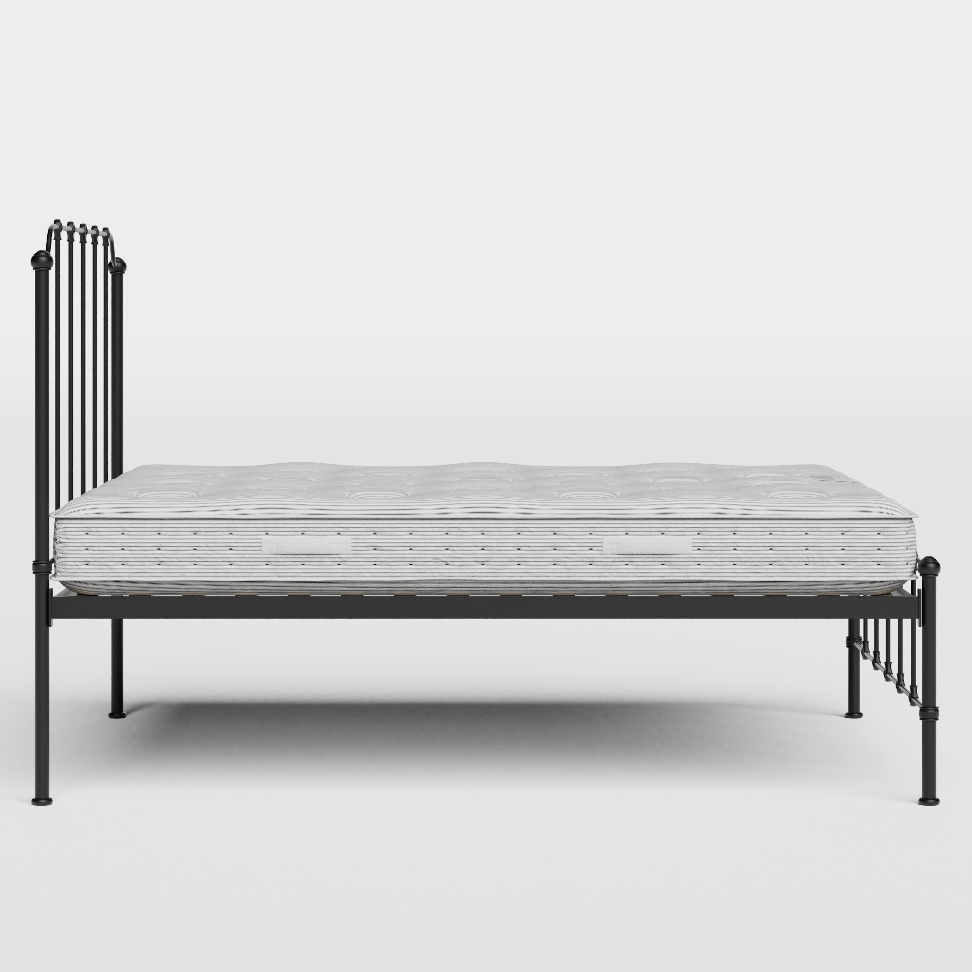 Julia iron/metal bed in black with Juno mattress