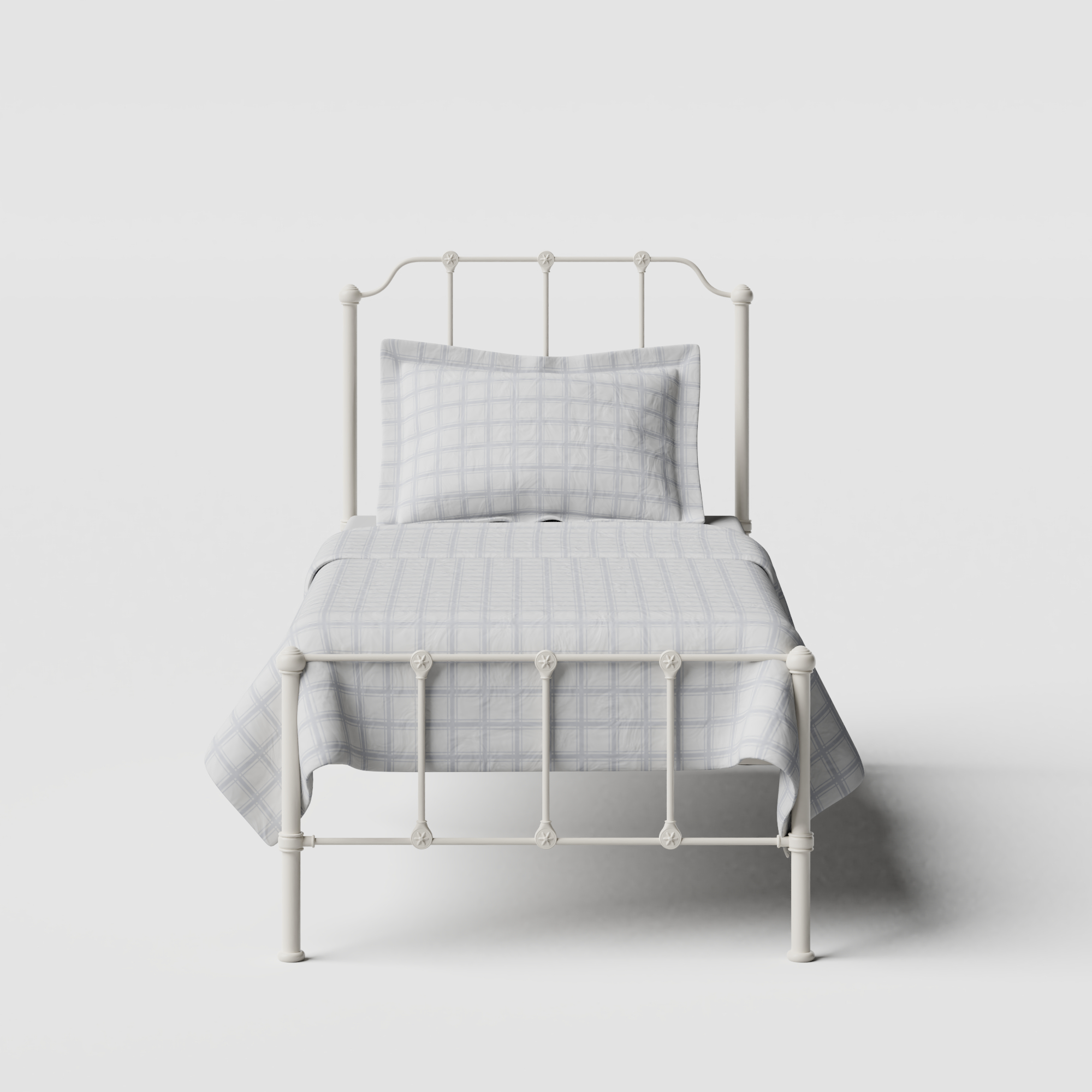 Julia iron/metal single bed in ivory