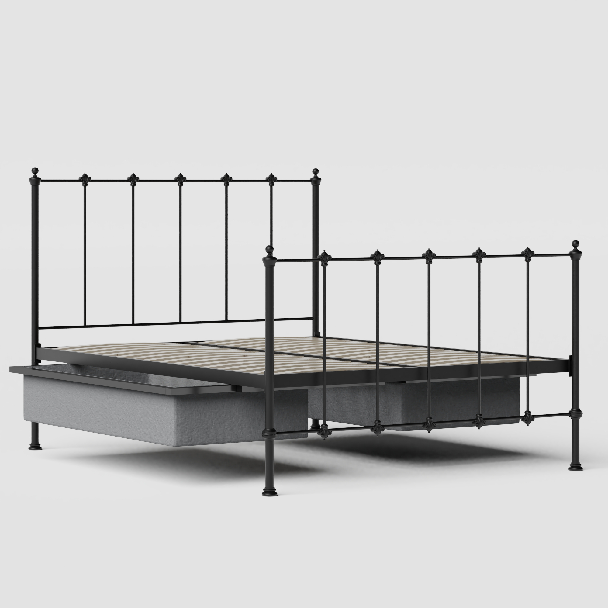Paris iron/metal bed in black with drawers