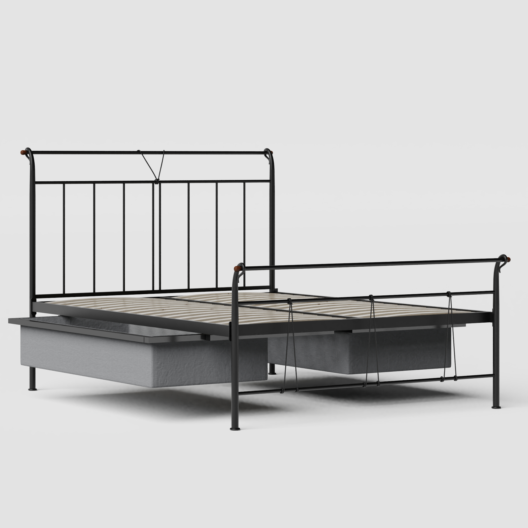 Pellini iron/metal bed in black with drawers