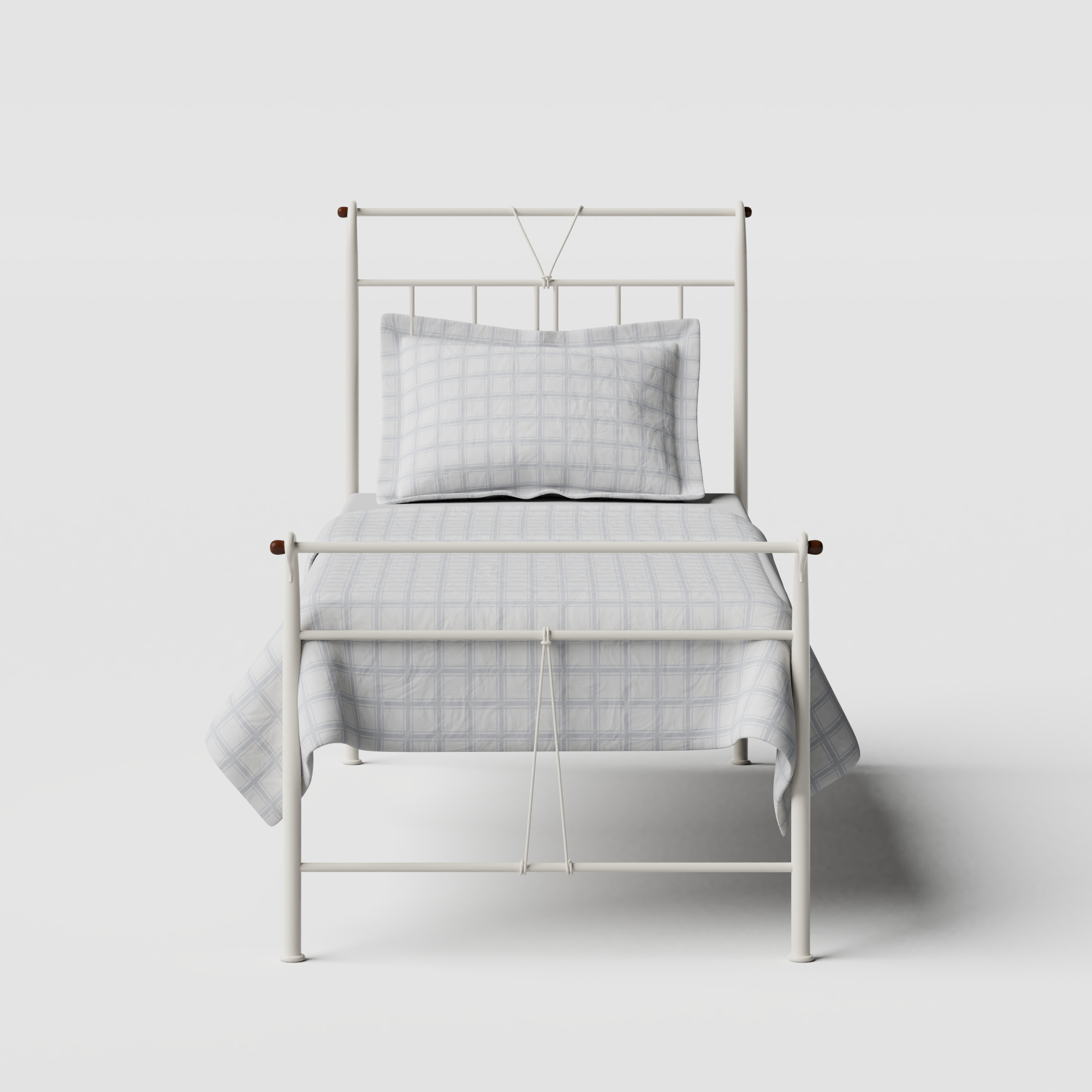 Pellini iron/metal single bed in ivory